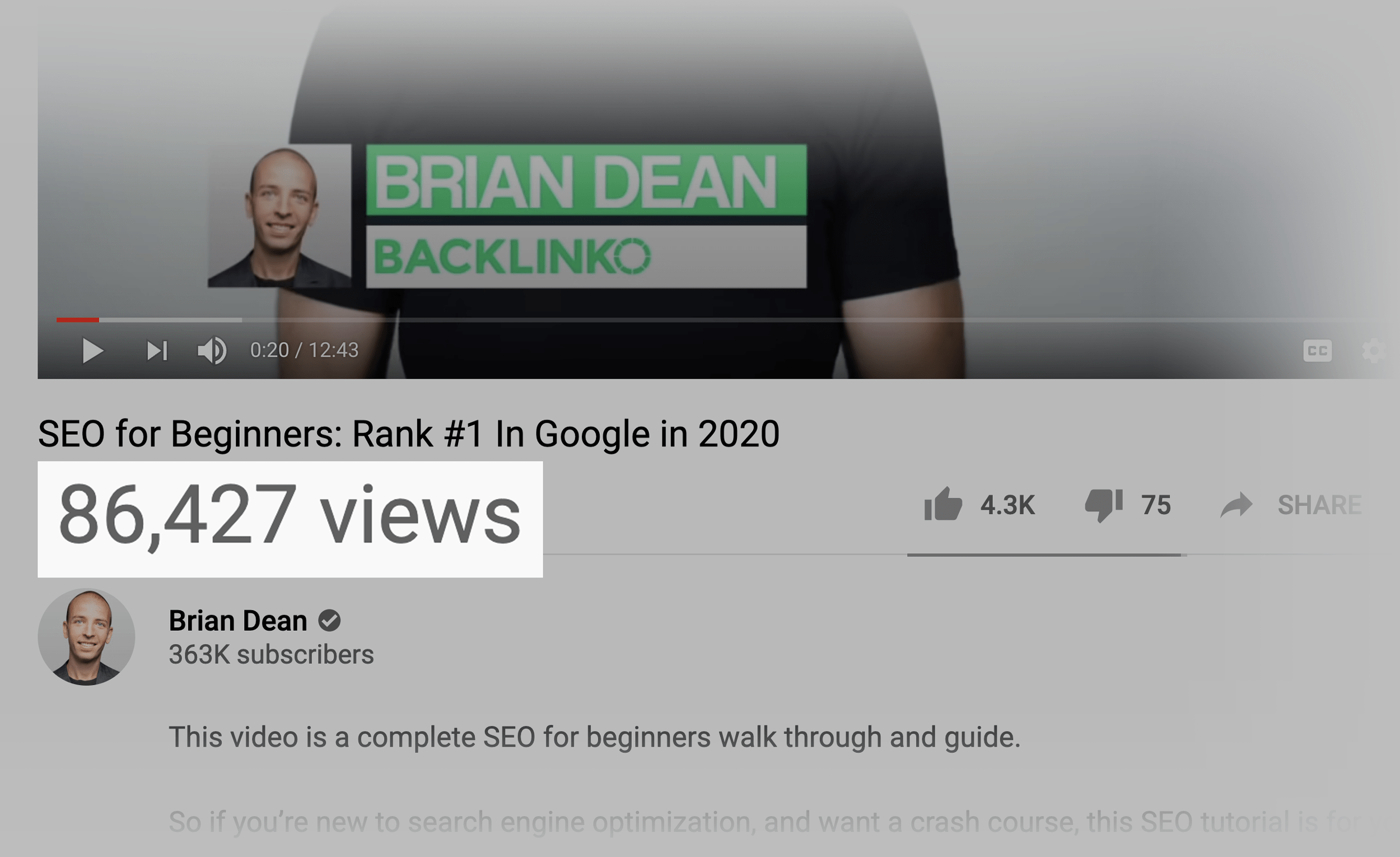 SEO For Beginners YouTube Video View Count