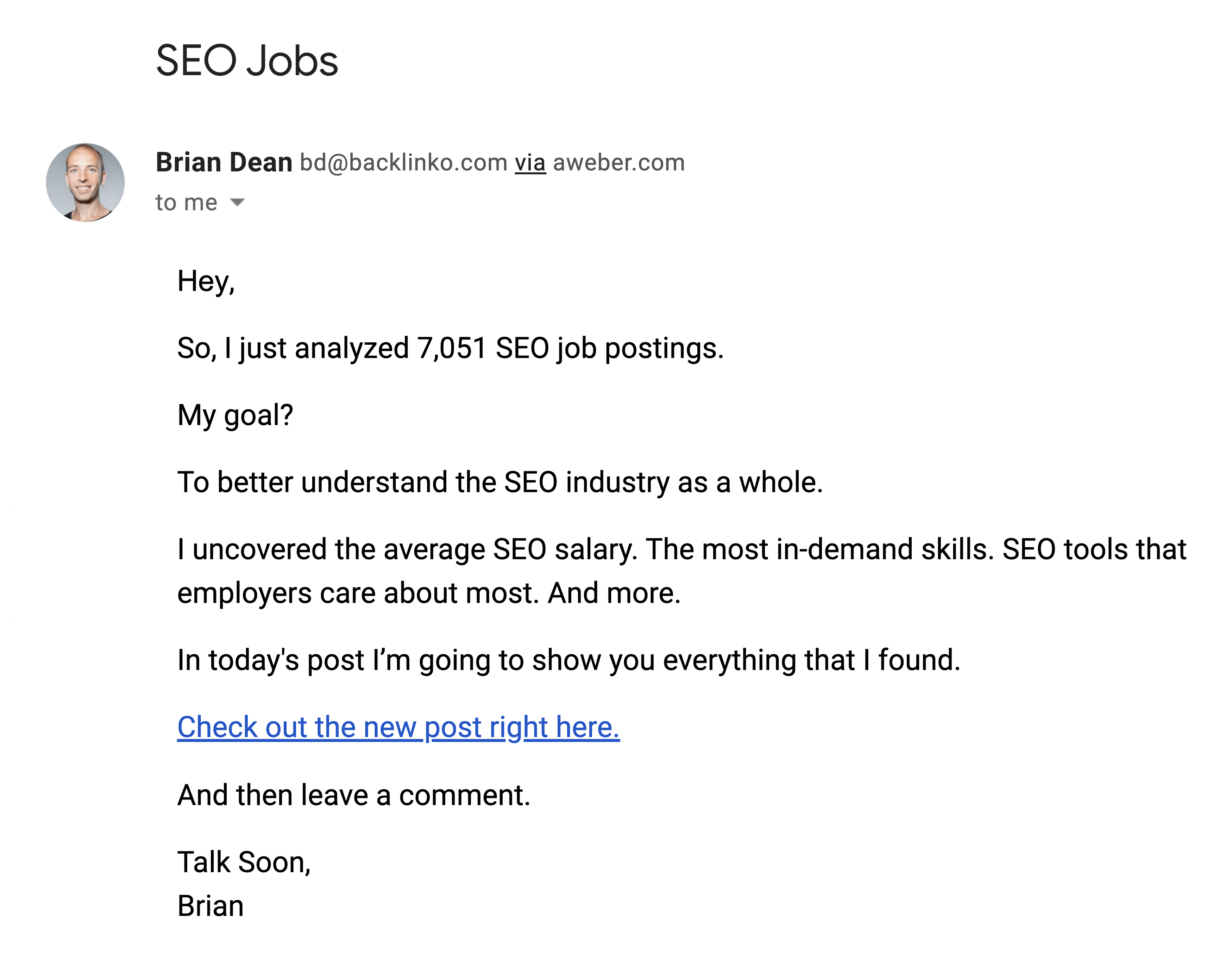 SEO Jobs Report Email