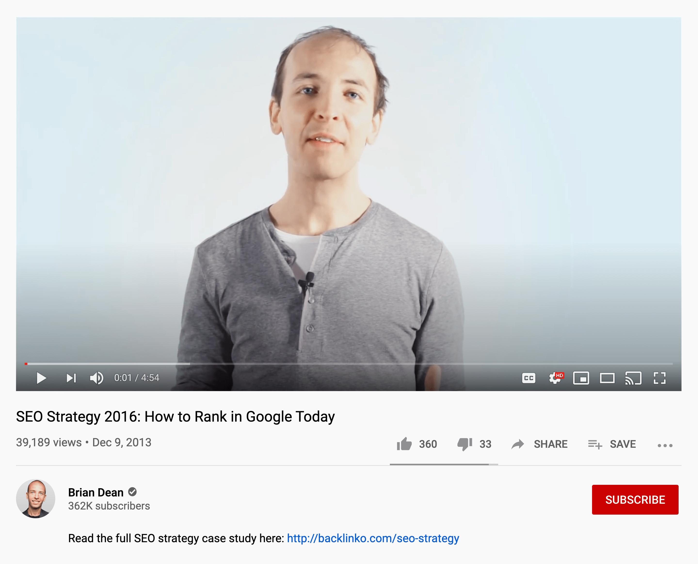 SEO Strategy 2016 – YouTube Video