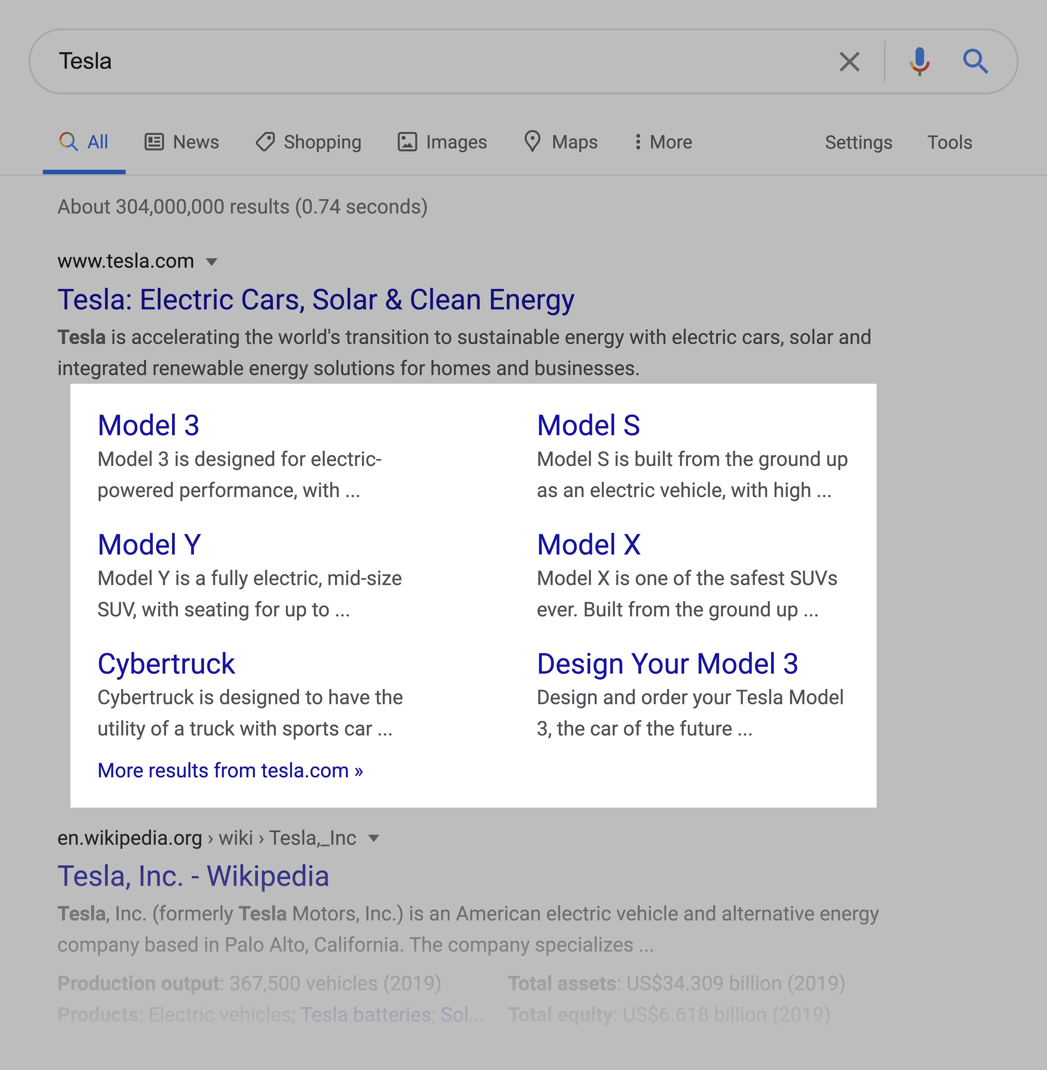 Tesla – SERPs Sitelinks