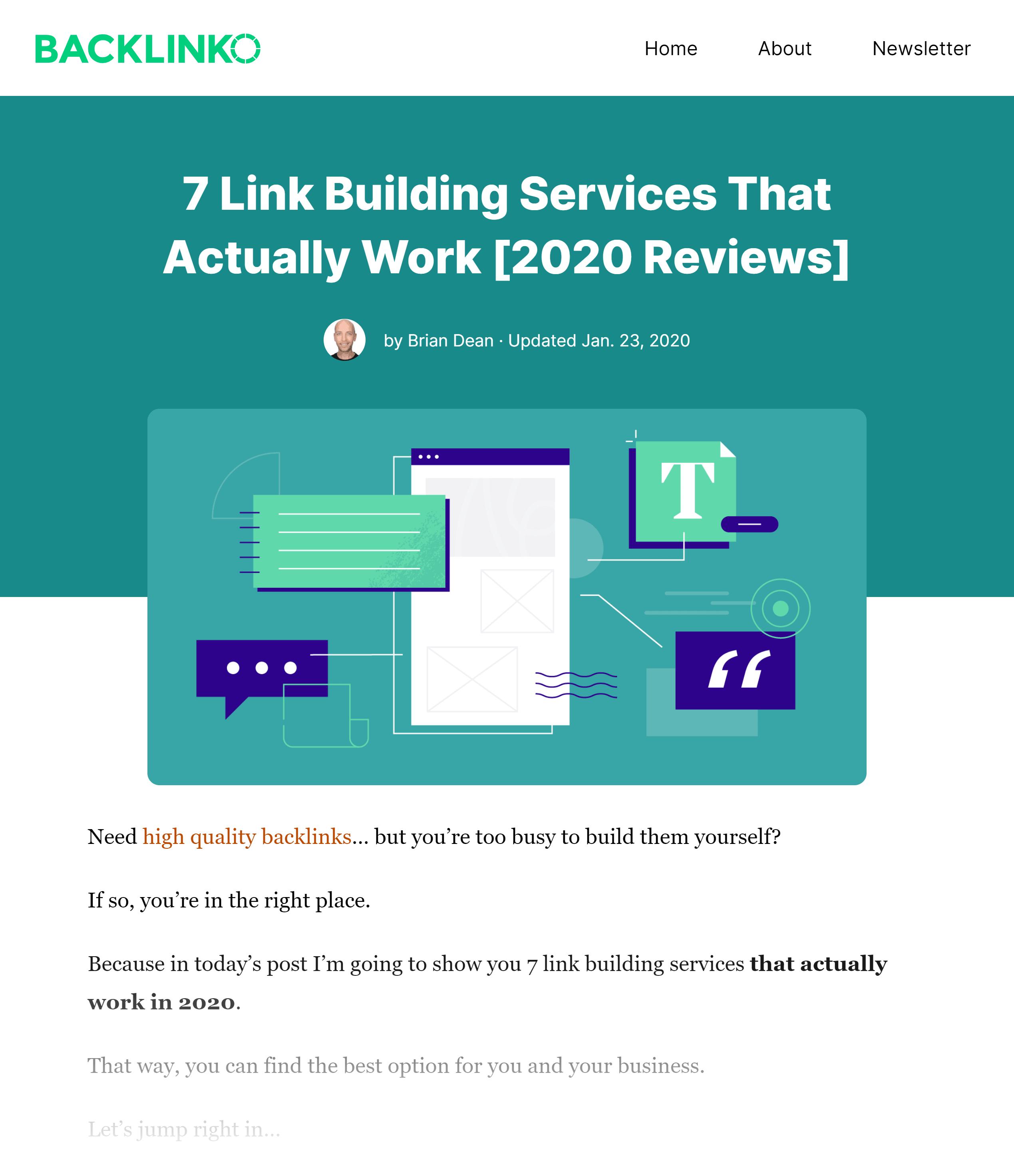 Backlinko – Link building services post