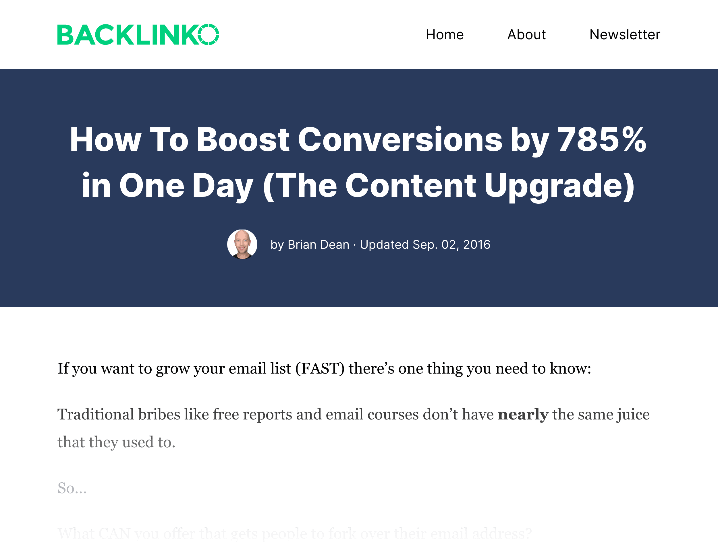 Backlinko – The Content Upgrade