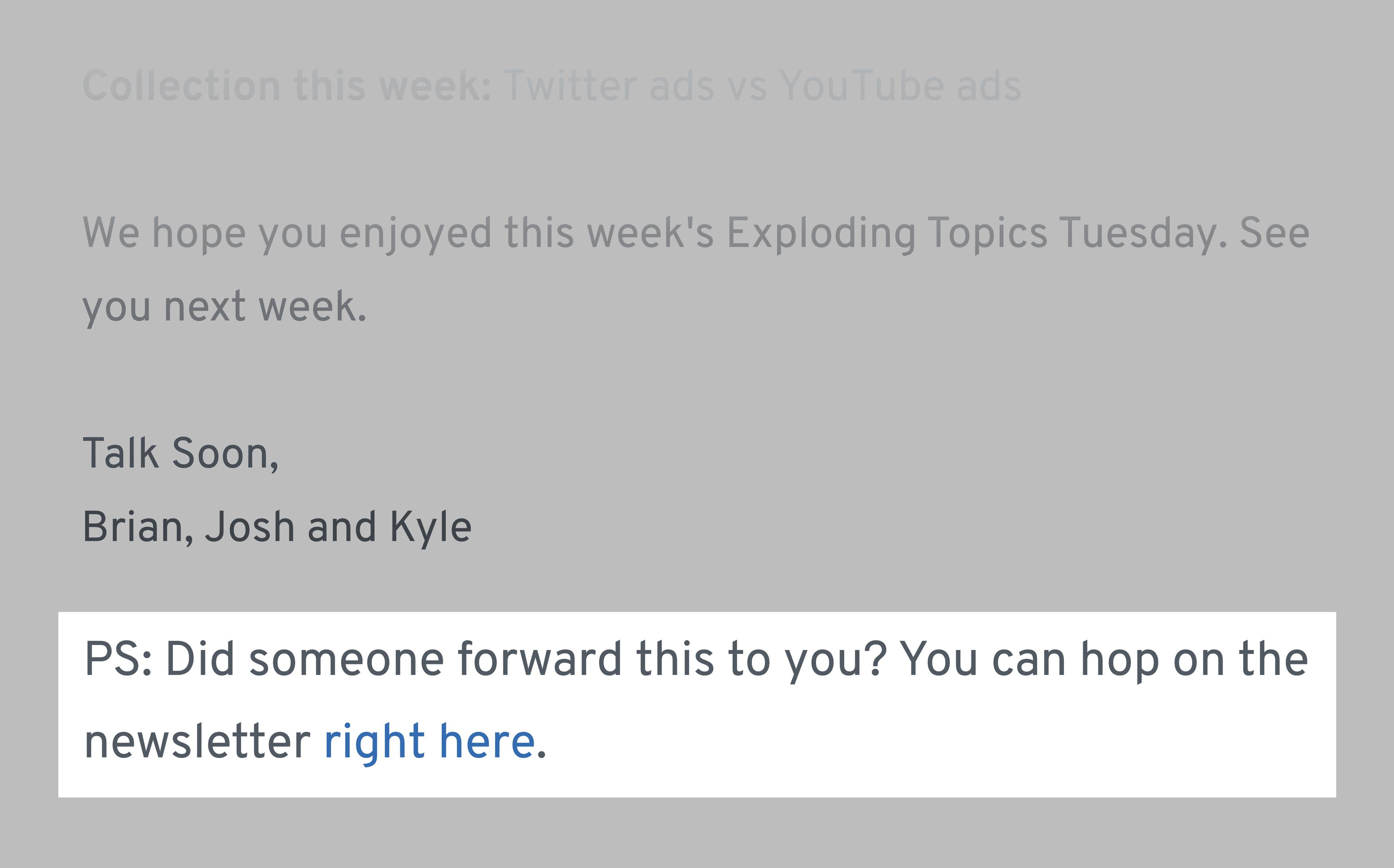 Bottom Of Each Exploding Topics Newsletter