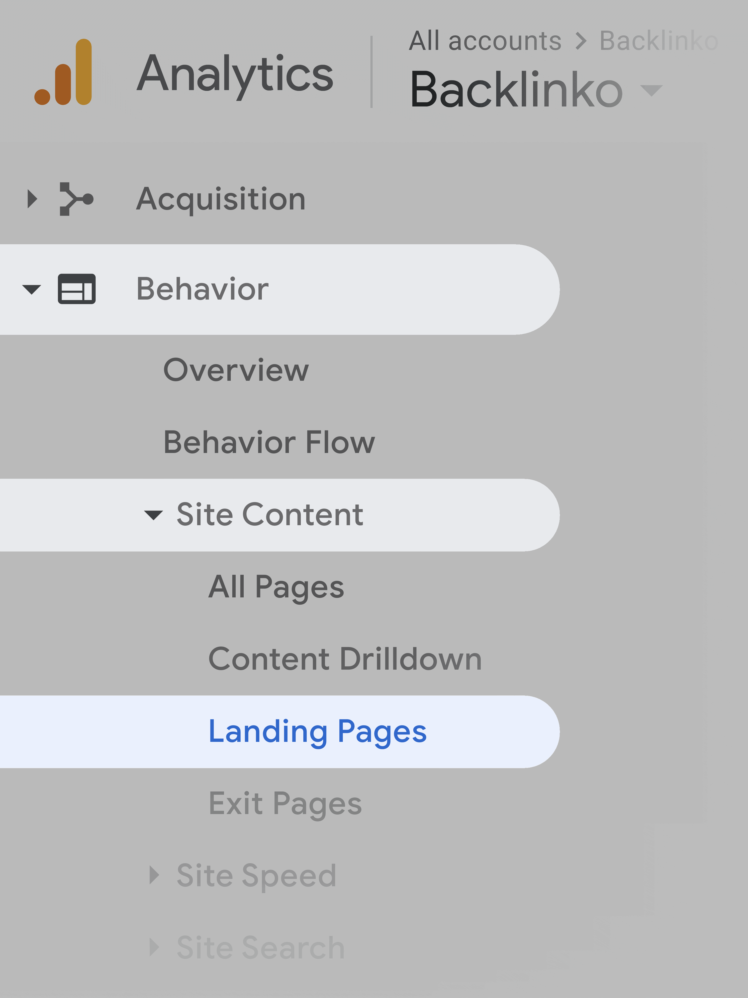 Google Analytics – Navigation To Landing Pages