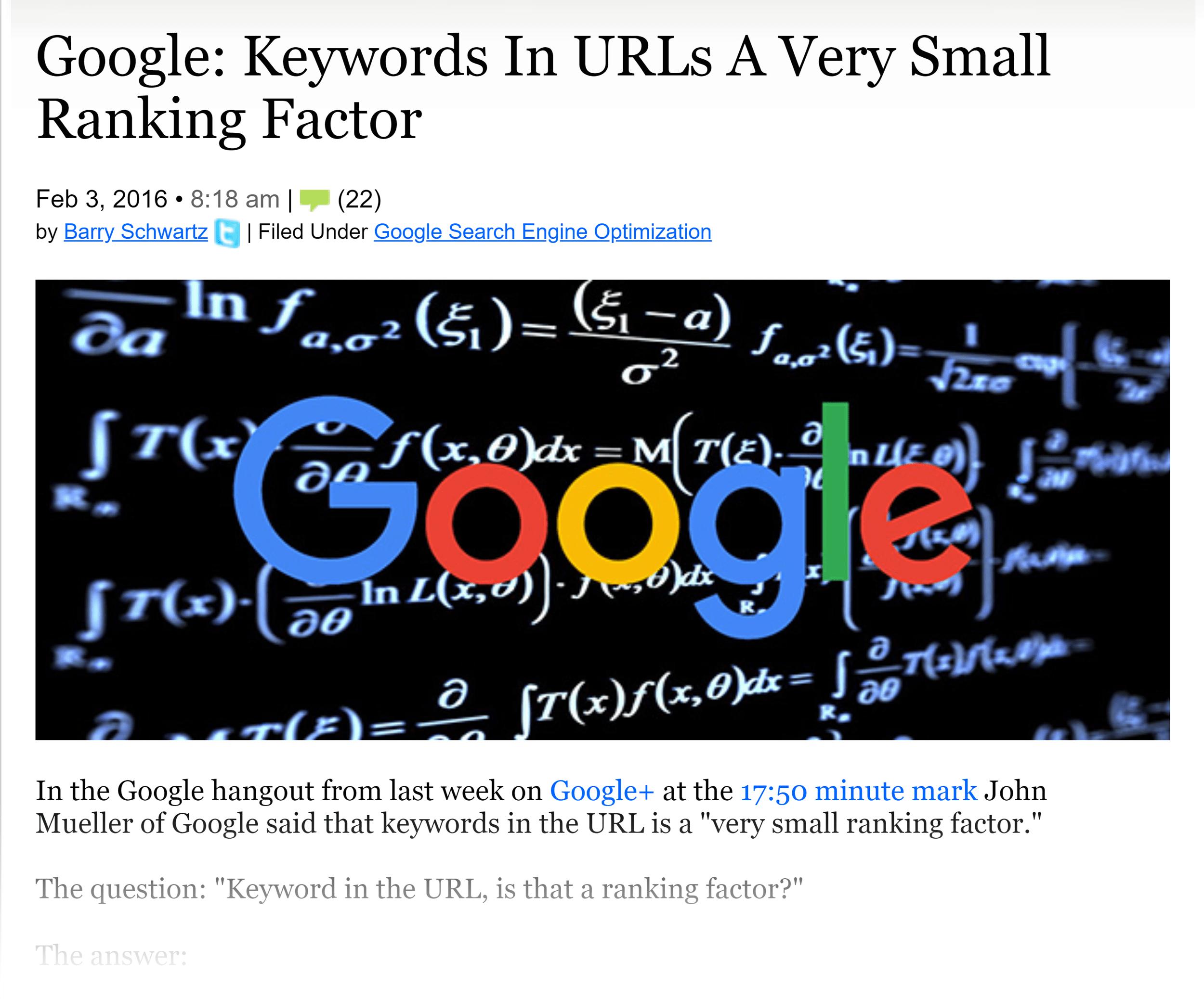 Google on keyword in URL