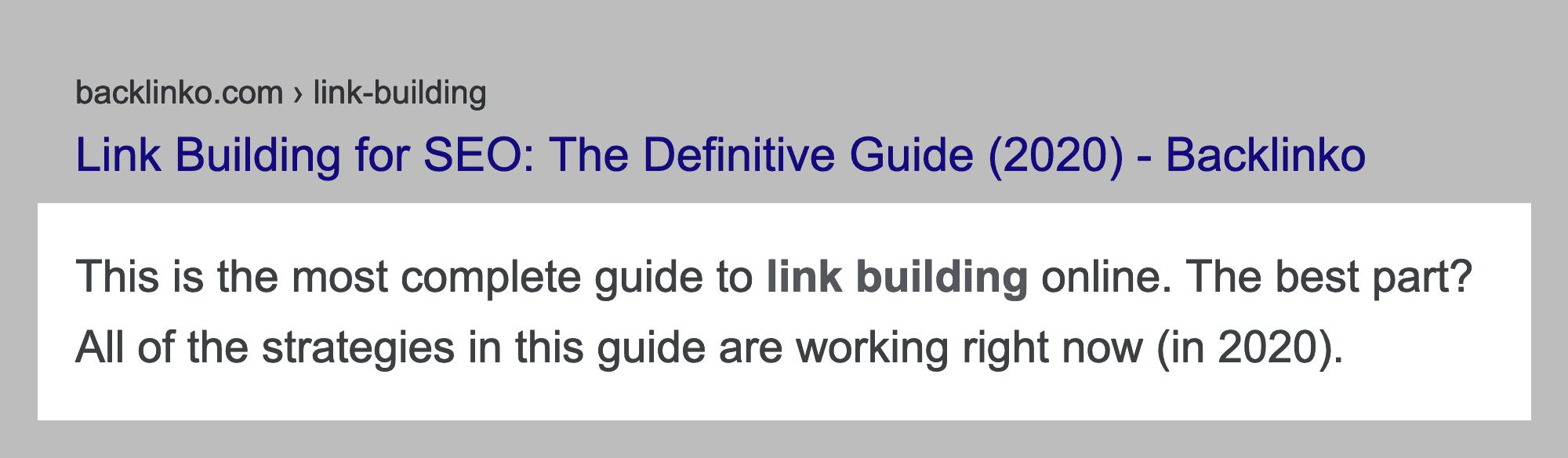 Link Building Guide SERP Description