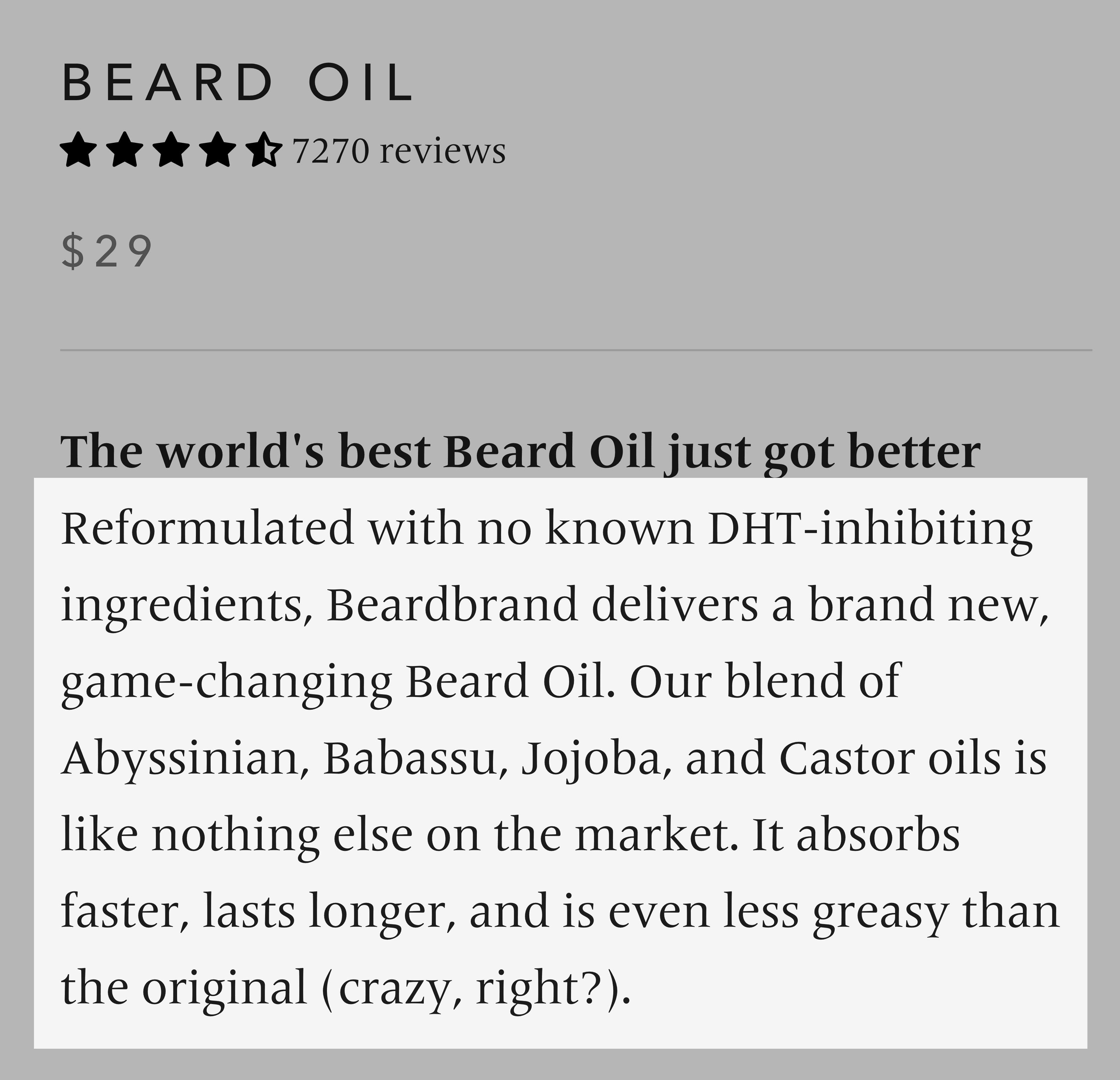 Beardbrand – Beard Oil Product Page Description