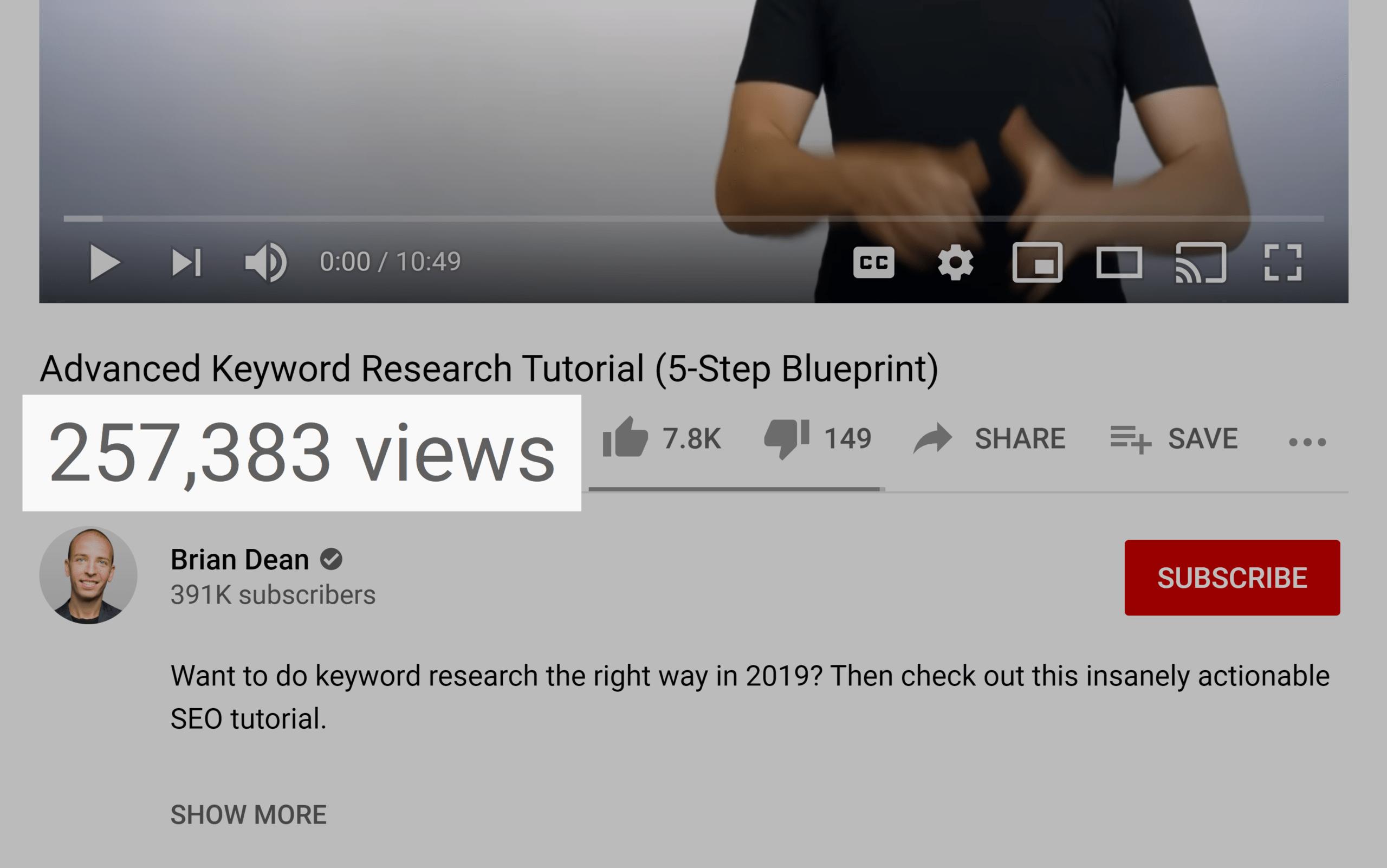 Advanced keyword research – Video views