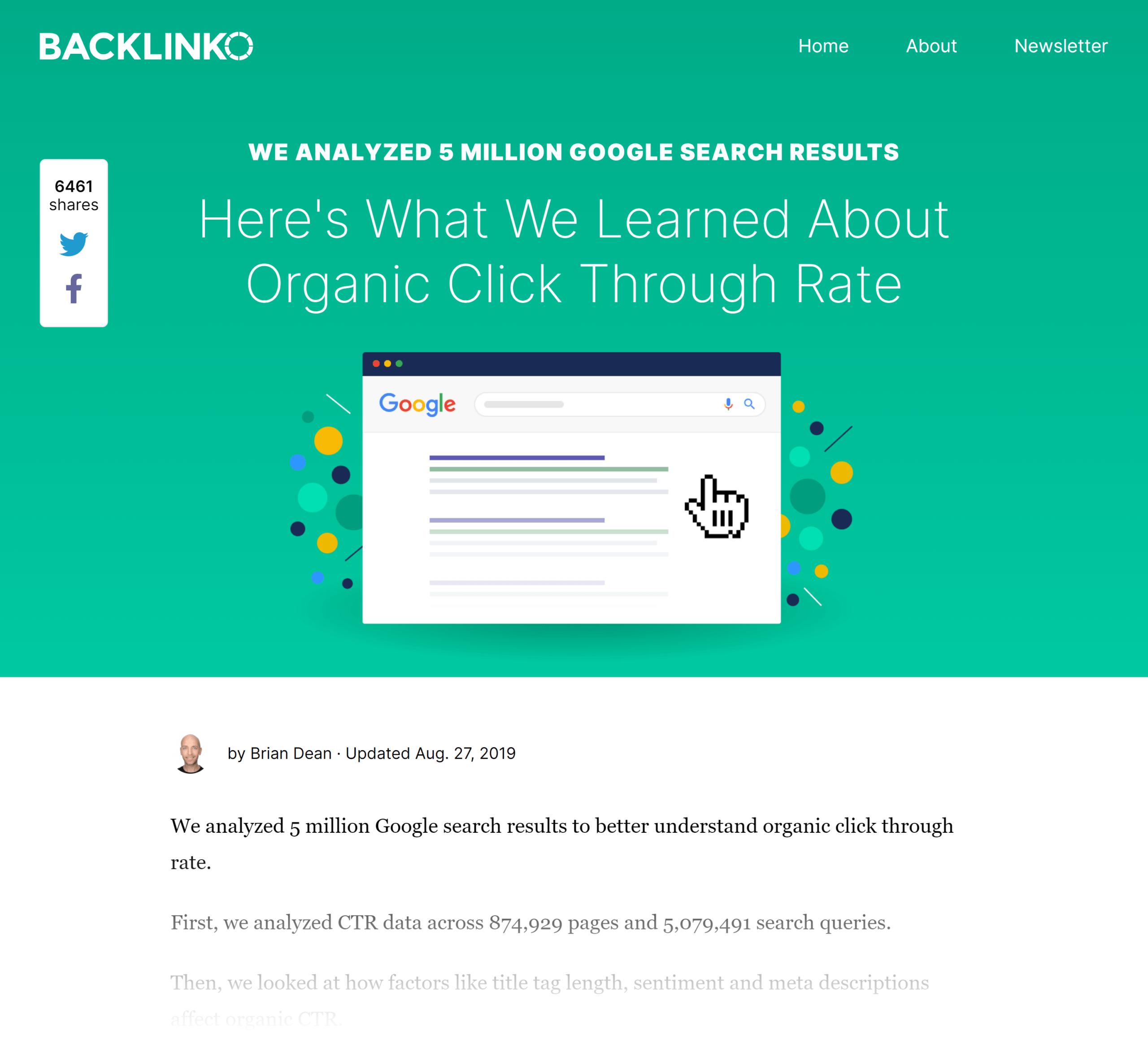Backlinko - Google CTR stats