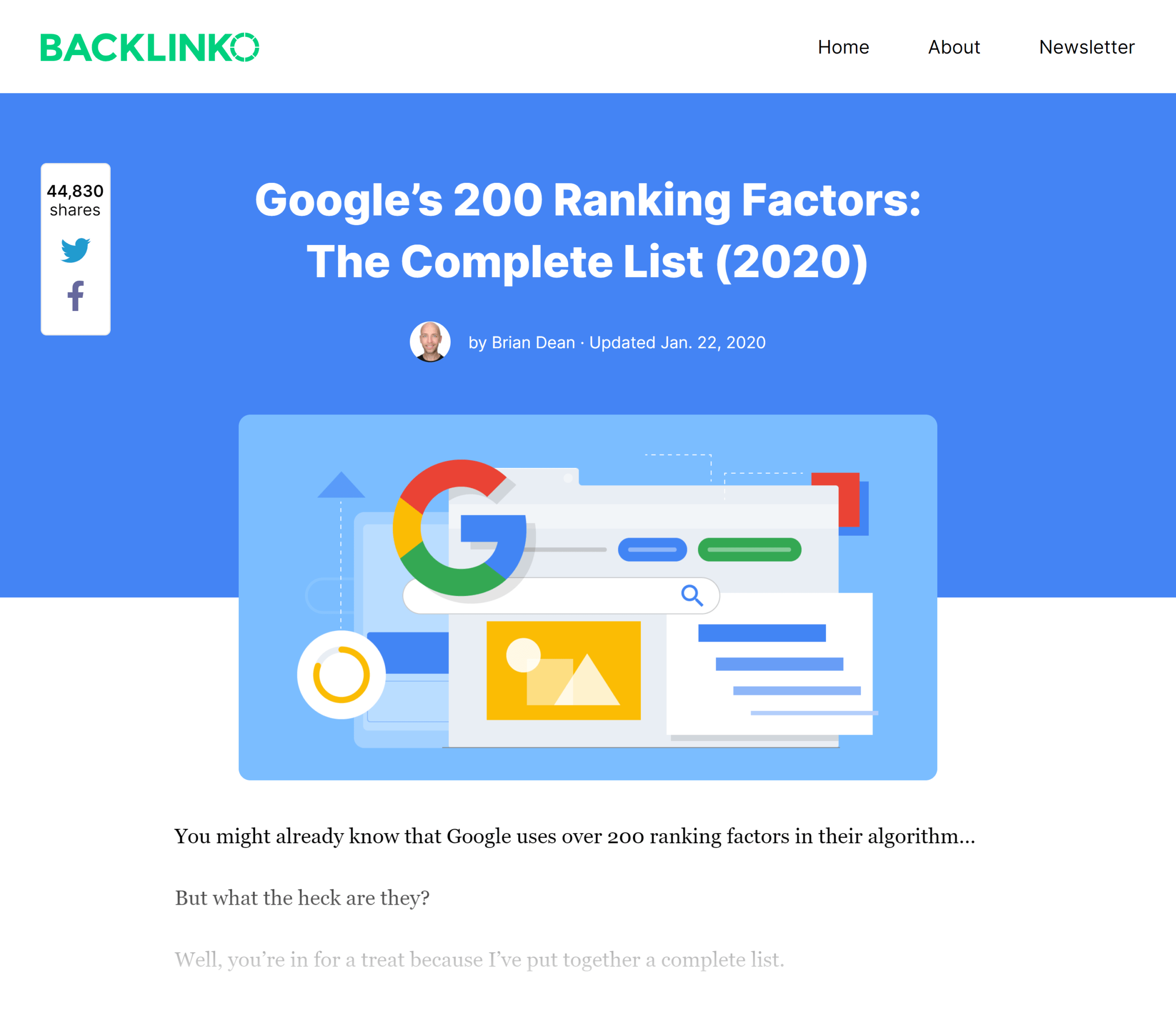 Backlinko – Google ranking factors post