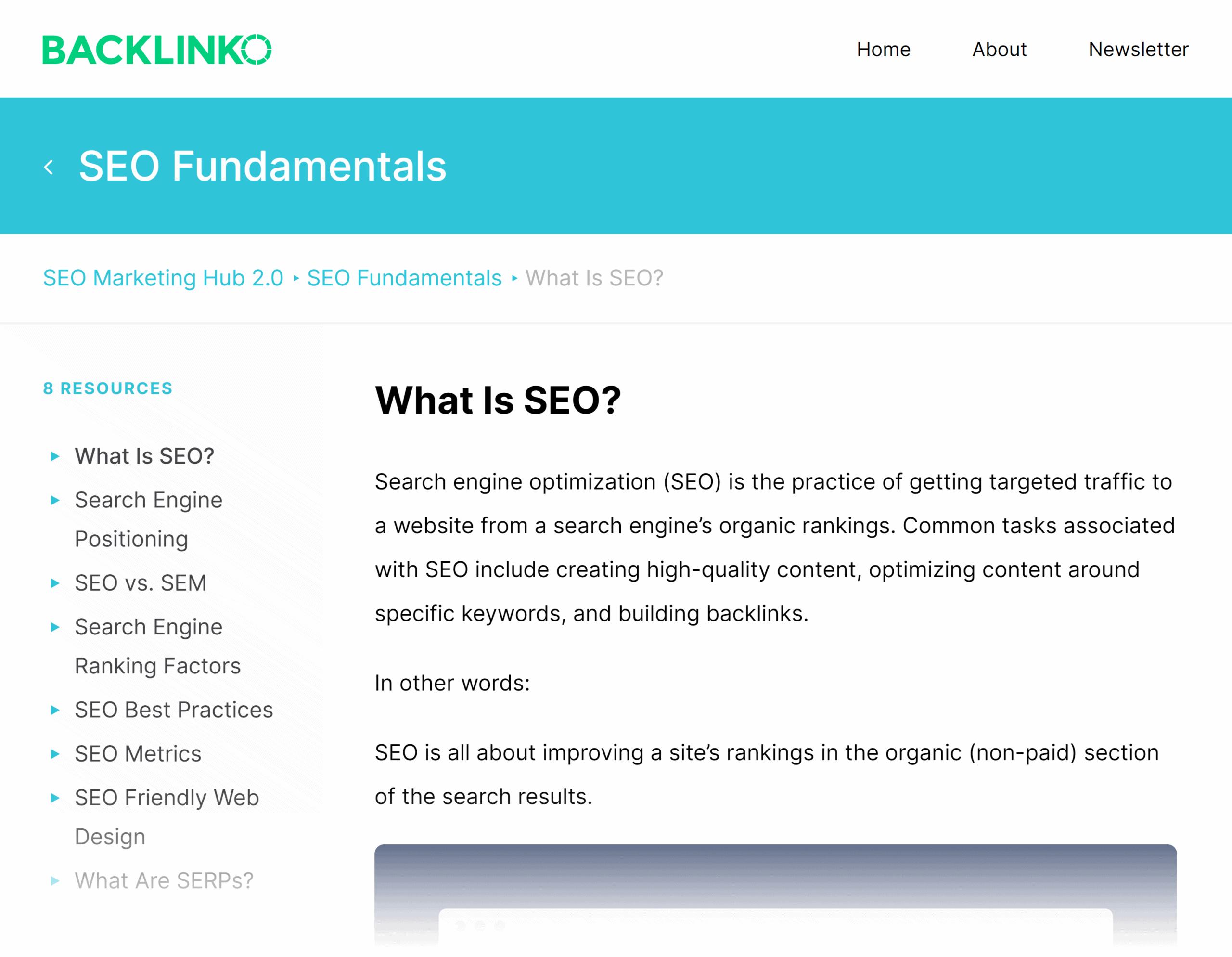 Backlinko – Hub – What is SEO?