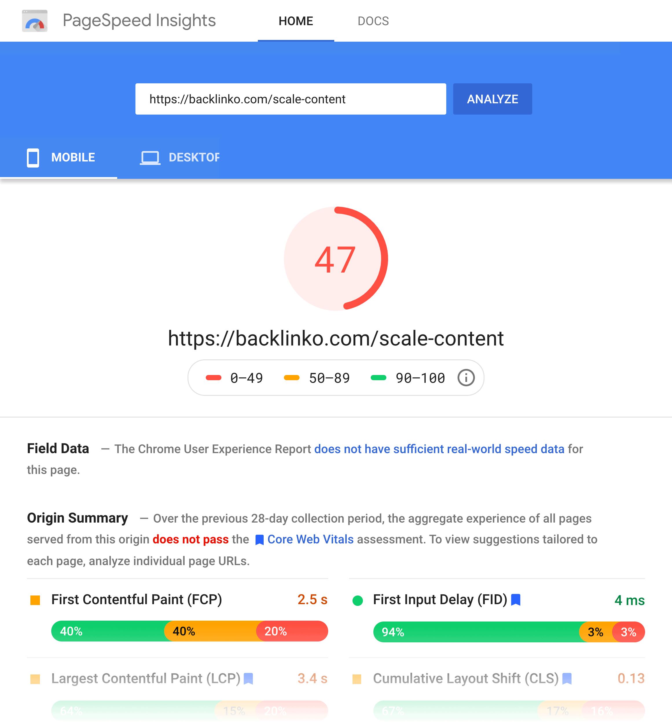 Backlinko – New page speed score