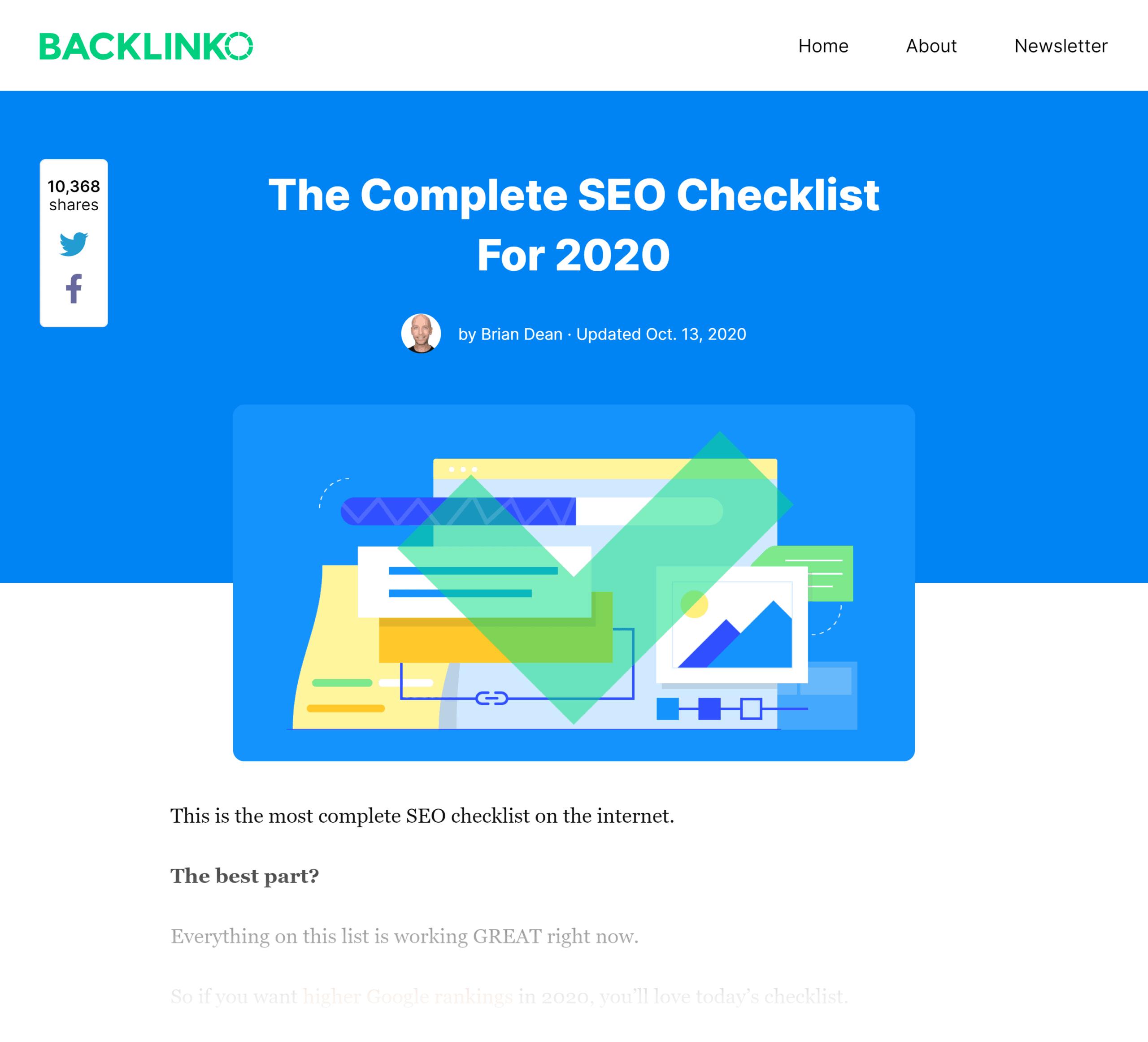 Backlinko – SEO checklist post