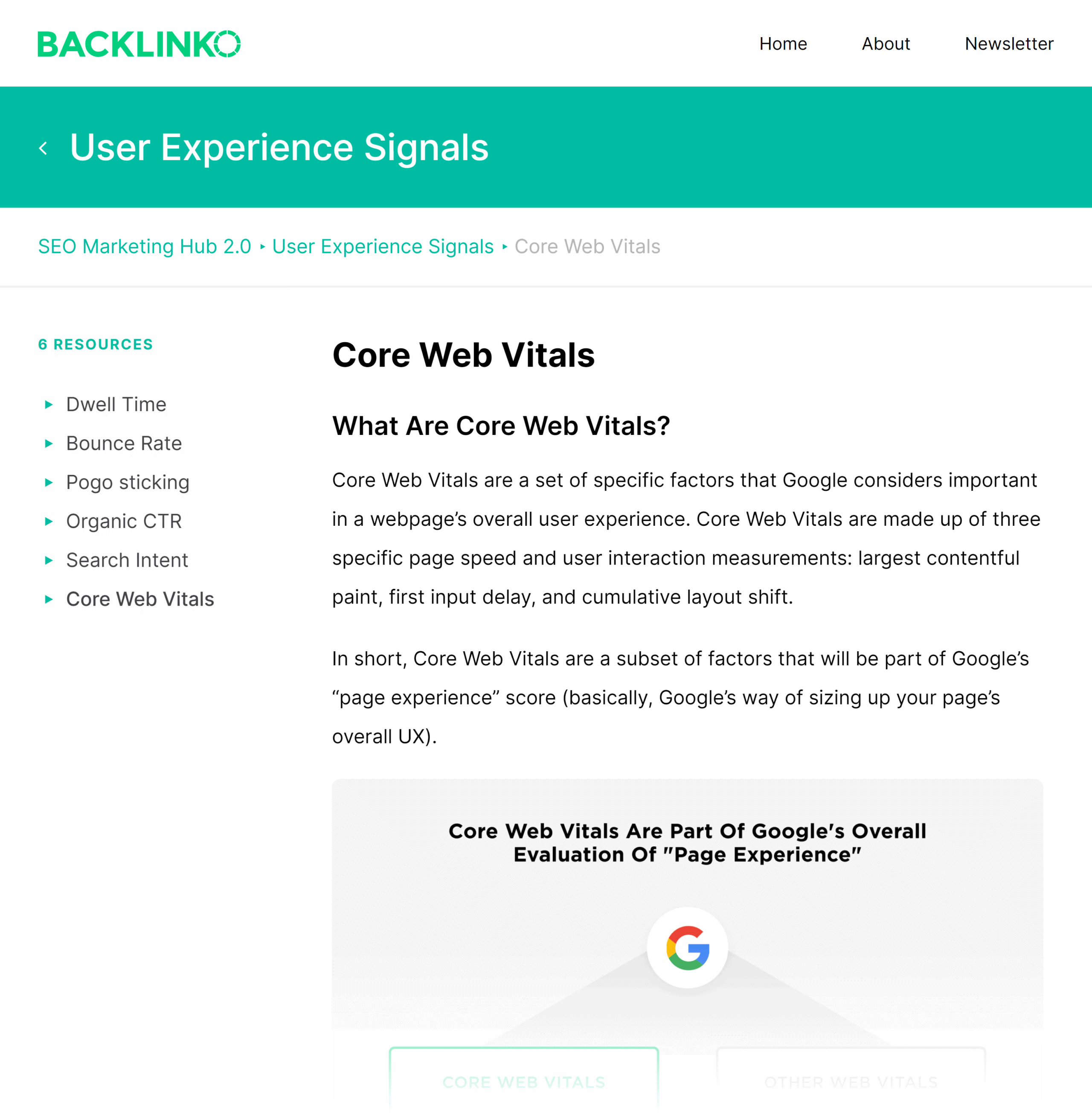 Backlinko SEO Hub – Core web vitals