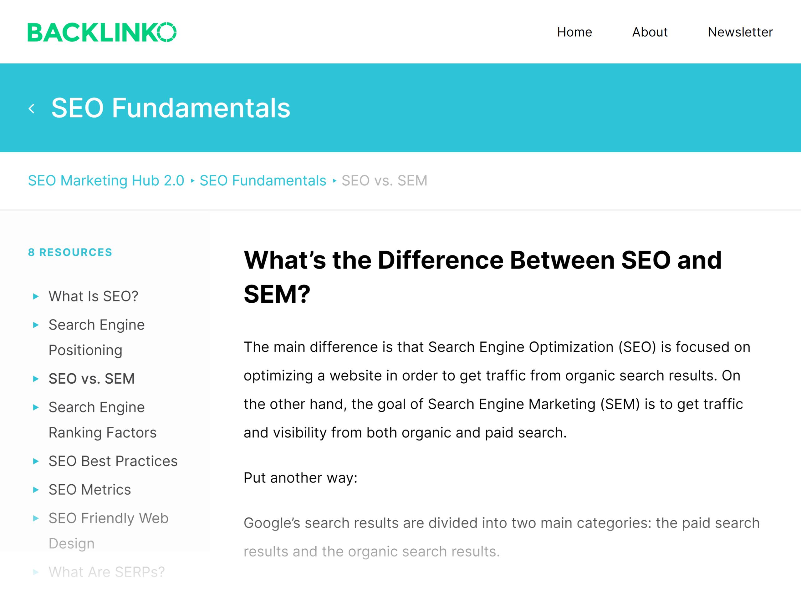 Backlinko – SEO Hub – SEO vs. SEM