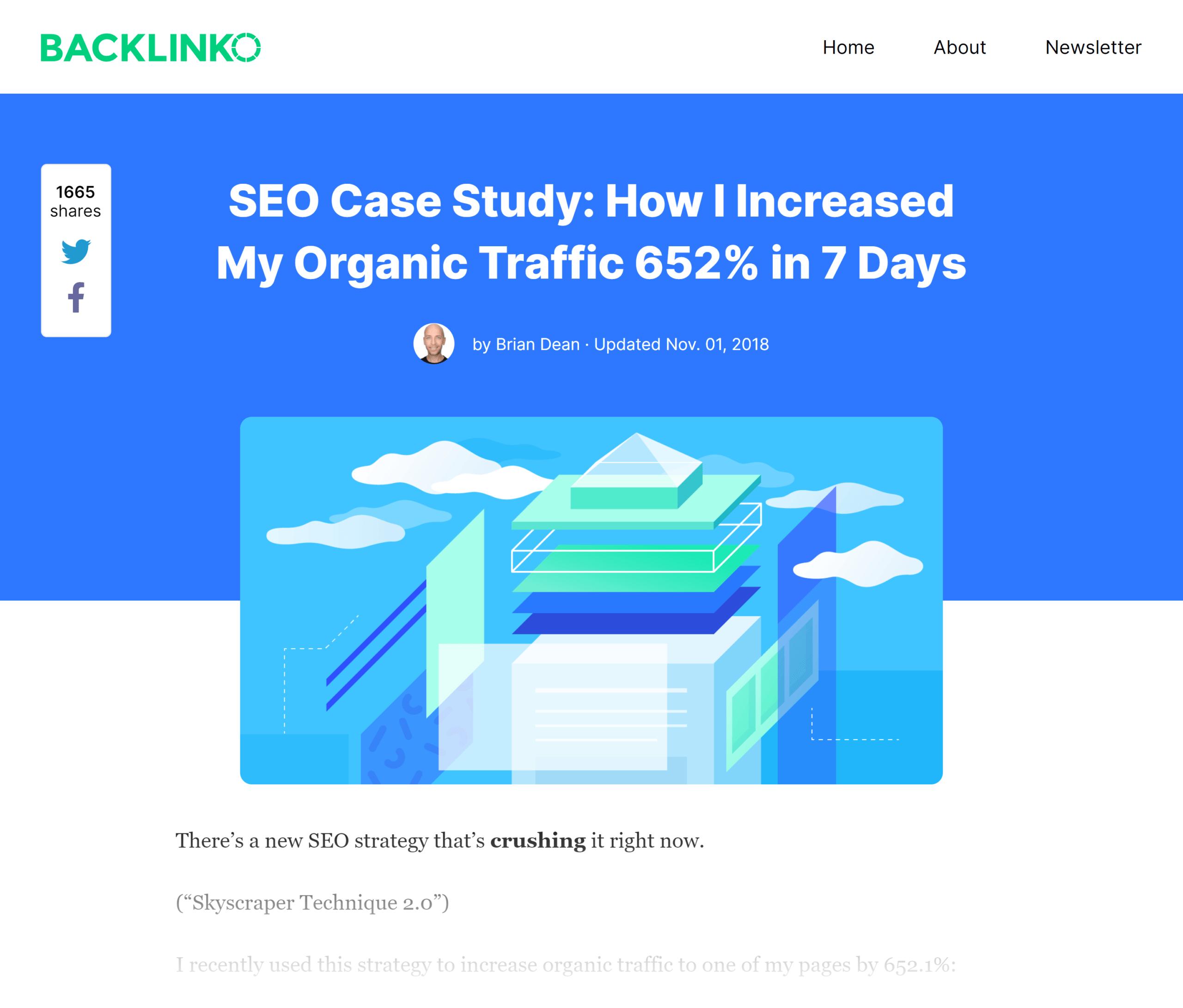 Backlinko – Skyscraper technique 2.0 post