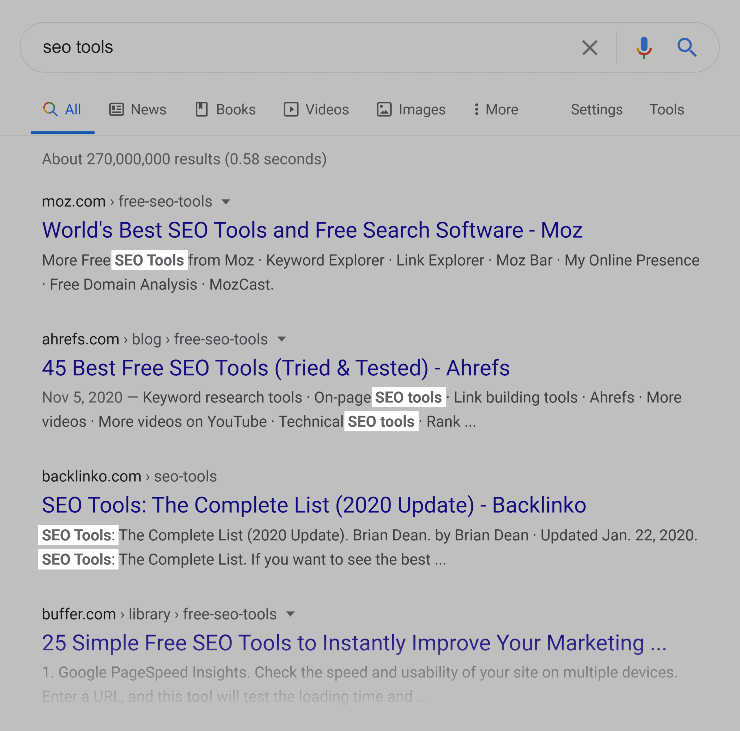 Bolded search term in SERP