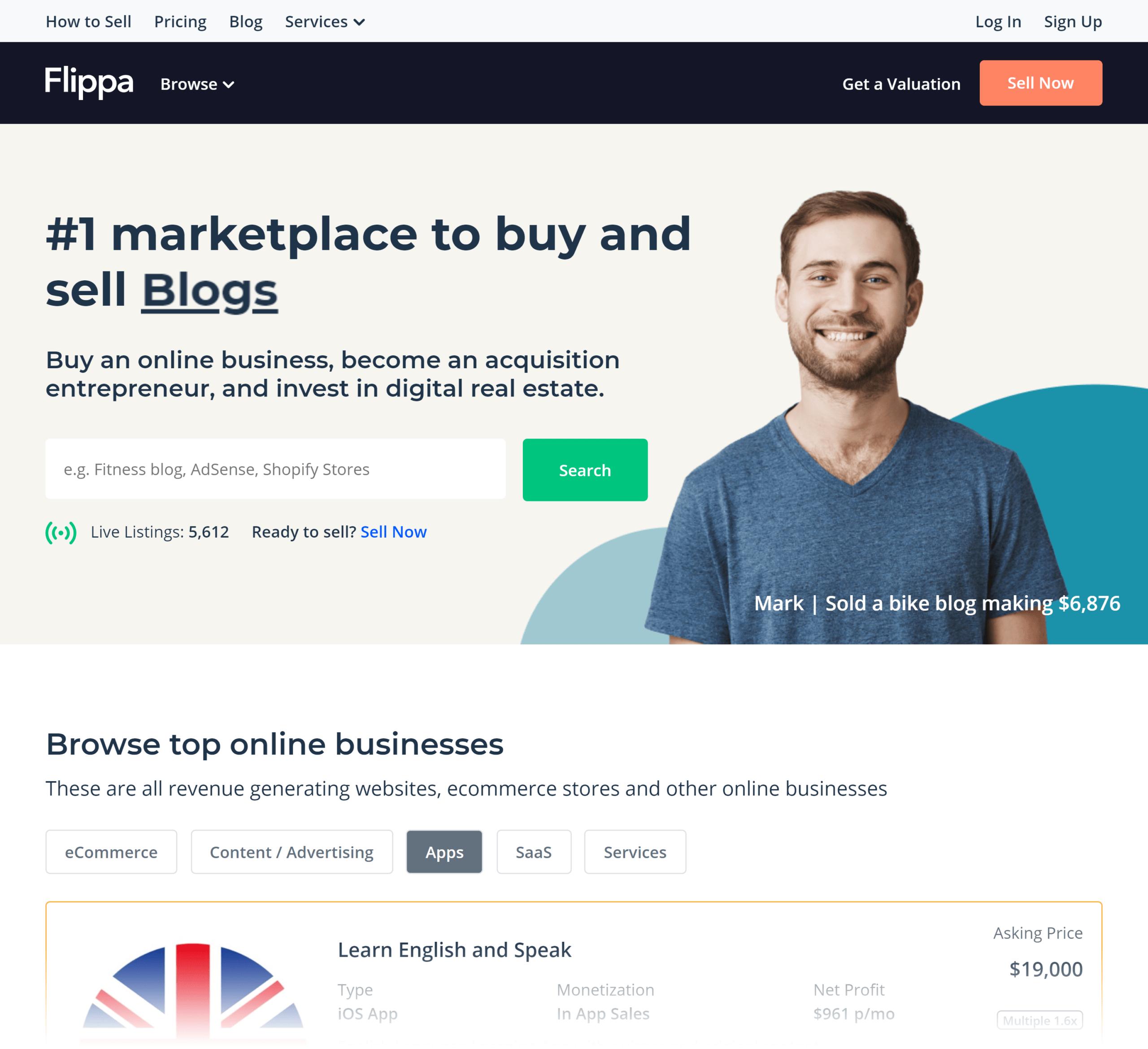 Flippa – Homepage