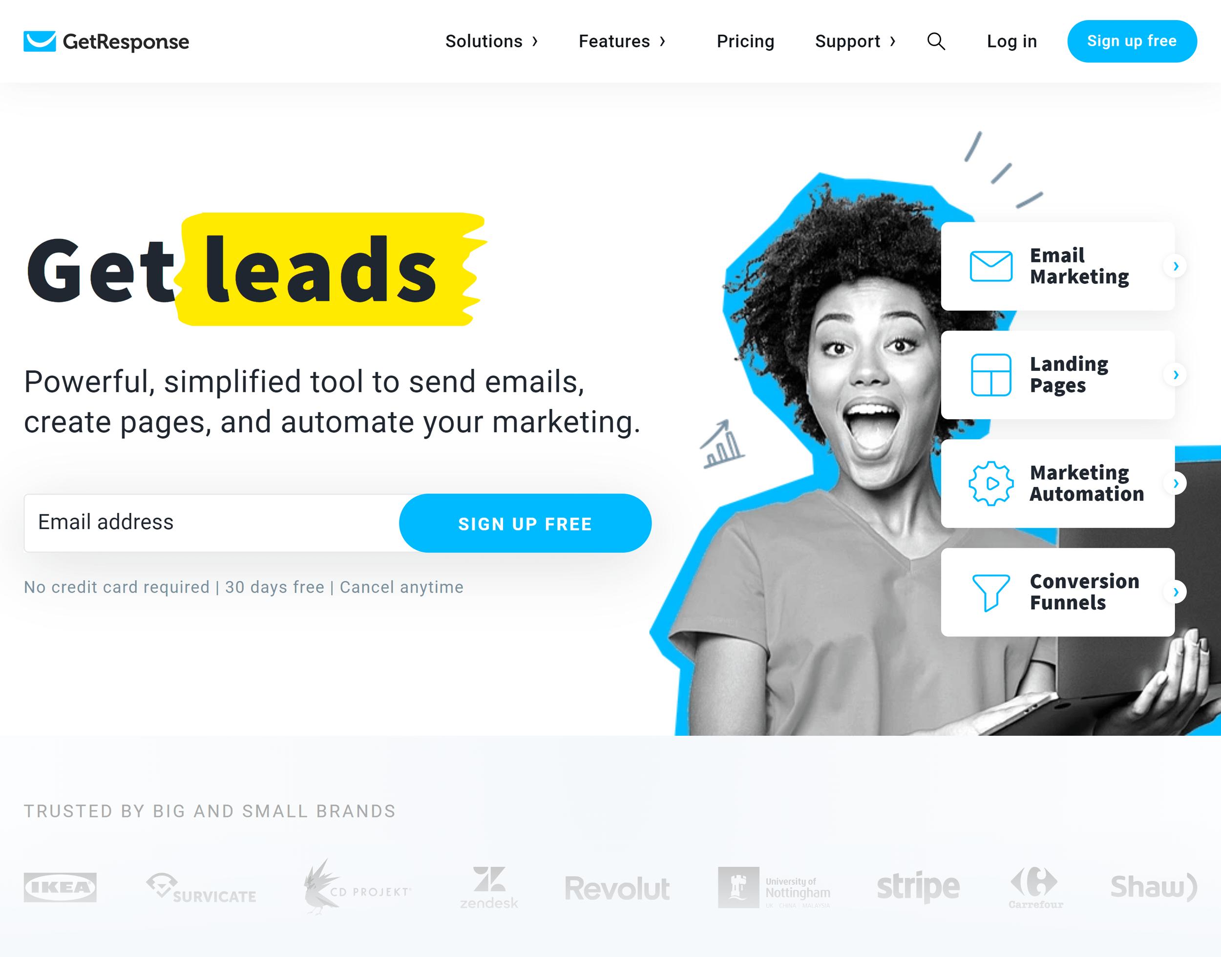 GetResponse – Homepage