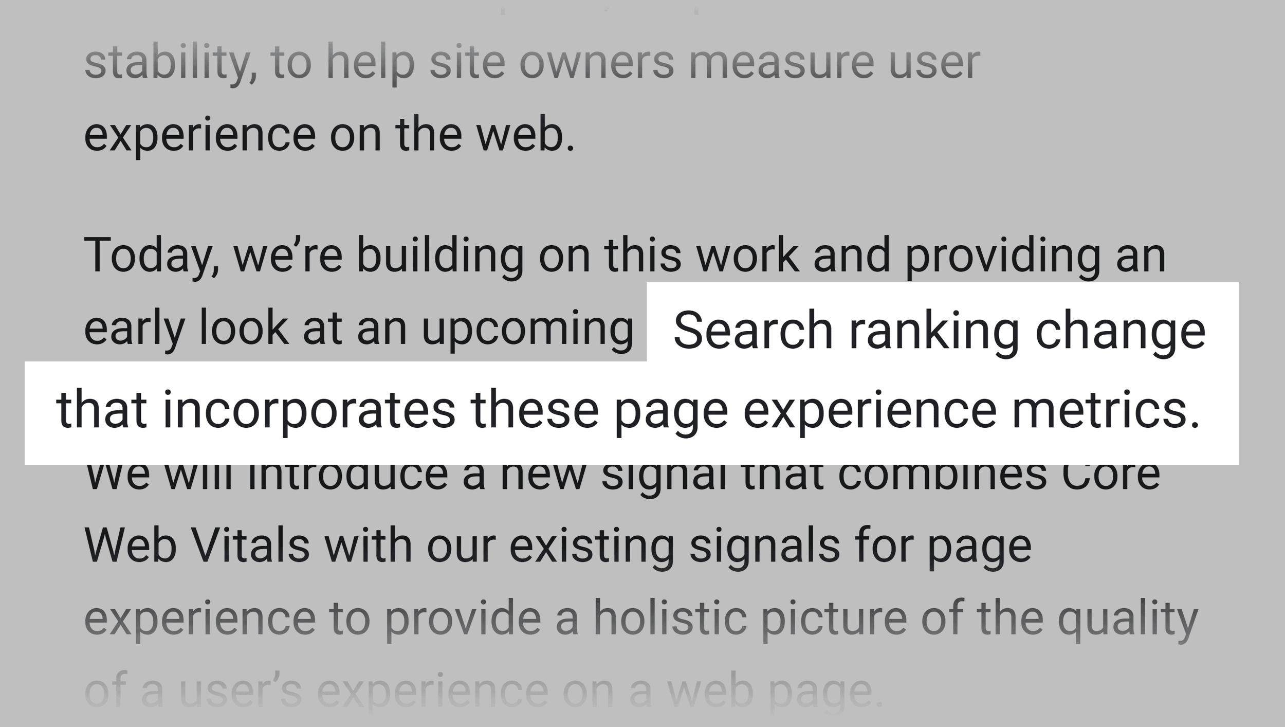 Google on core we vitals