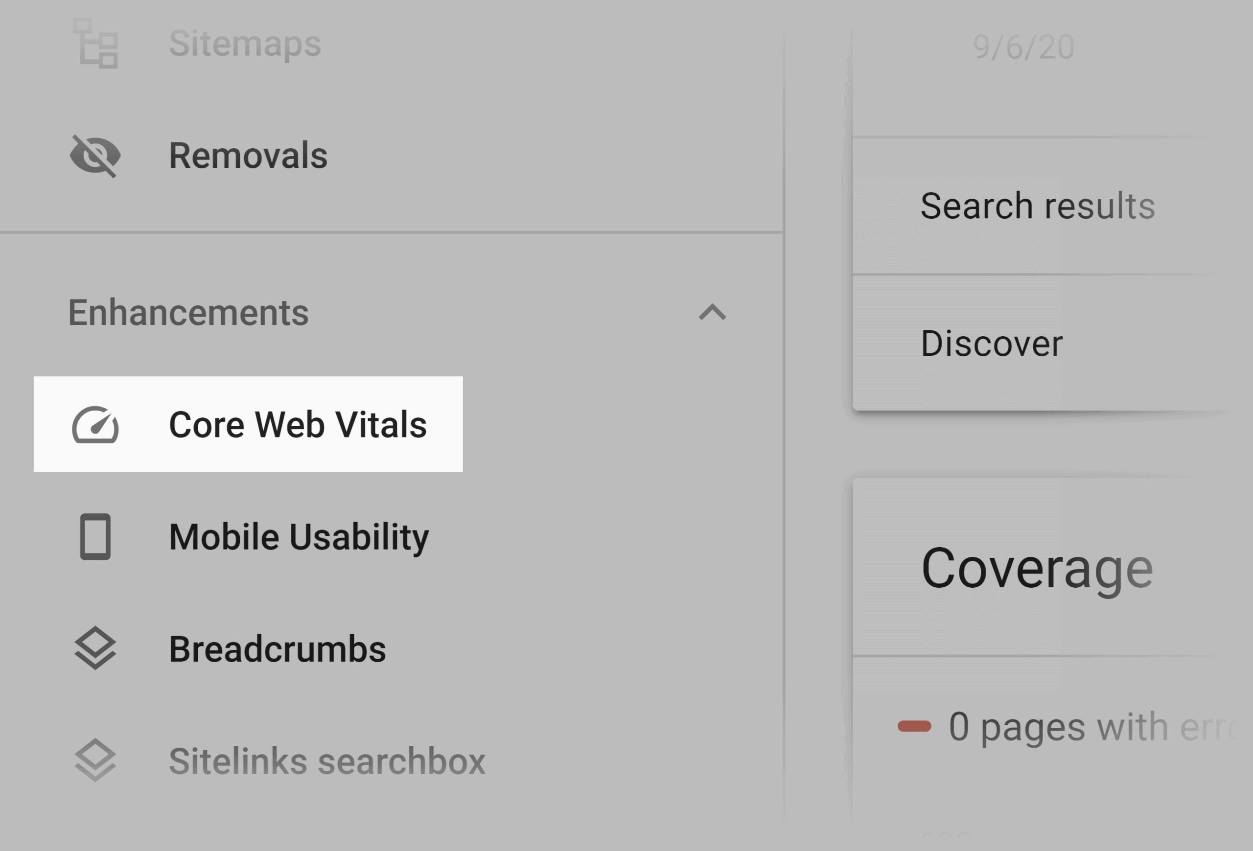 Google Search Console – Core web vitals menu