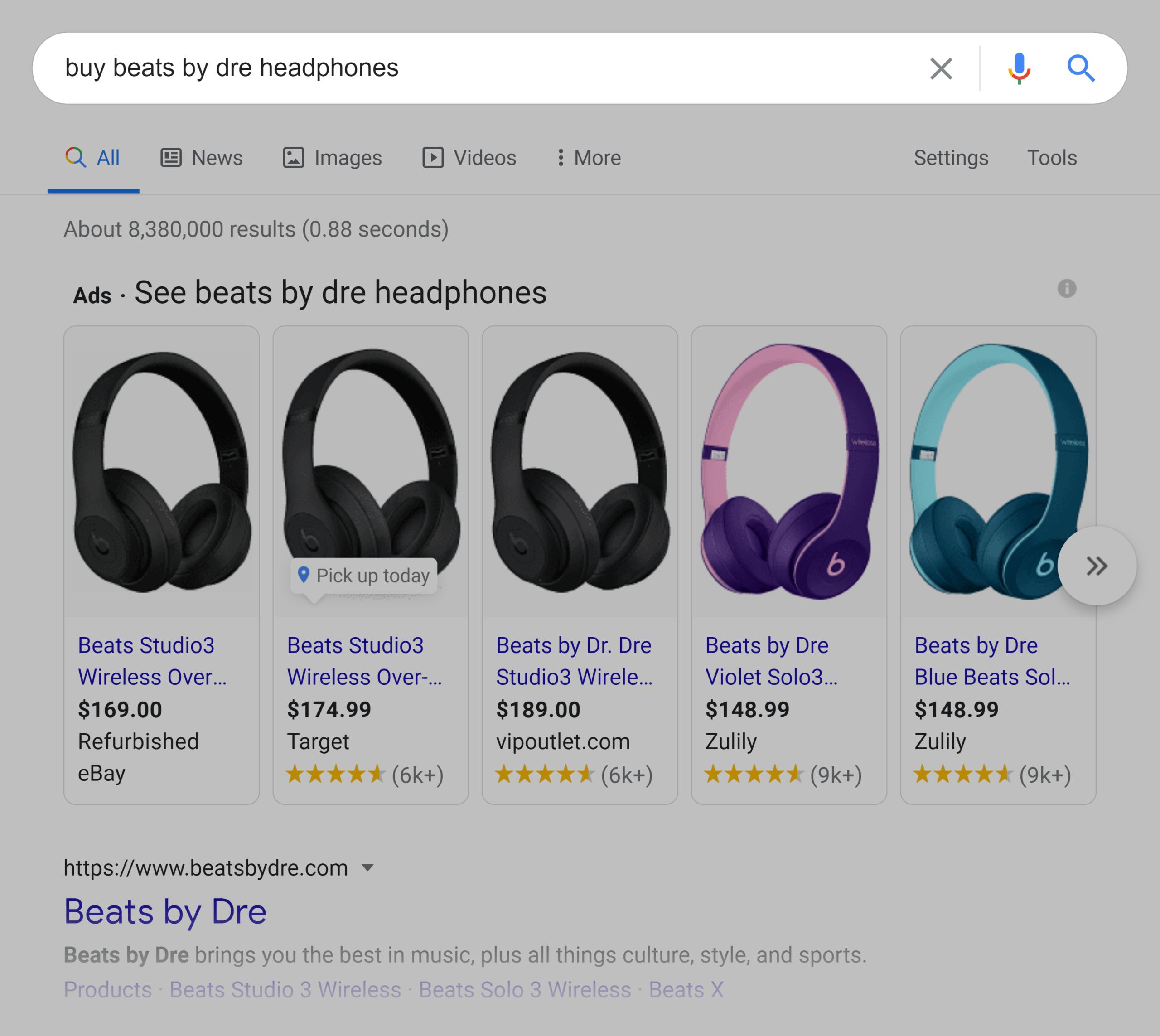 Google SERP – Buy beats by dre headphones