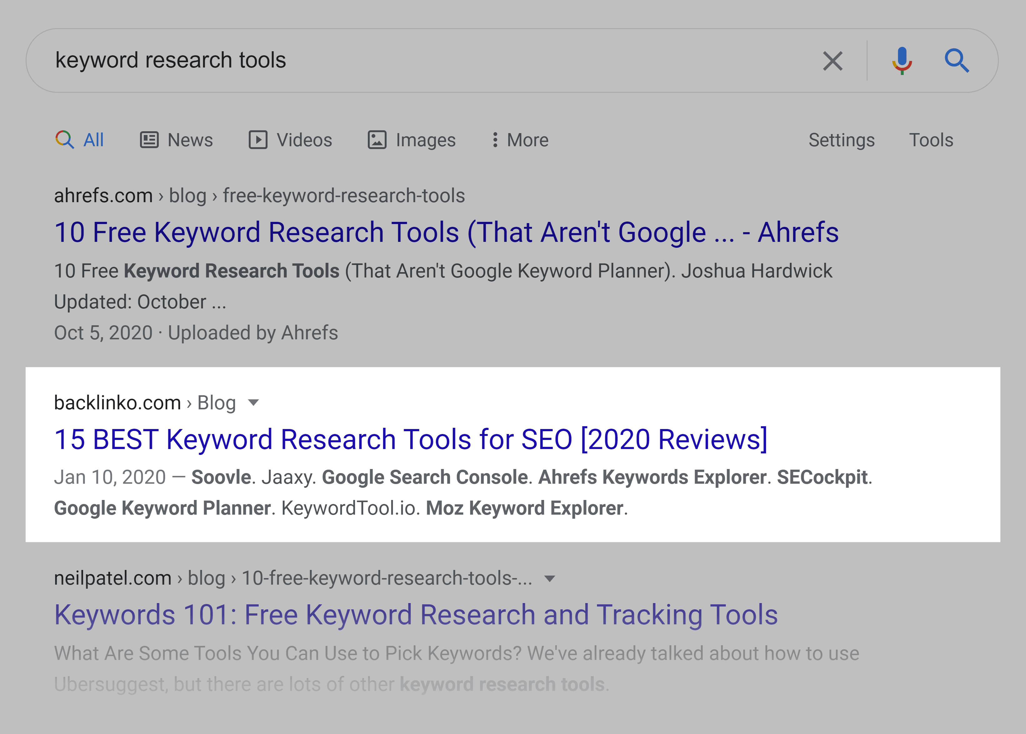 Google SERP – Keyword research tools