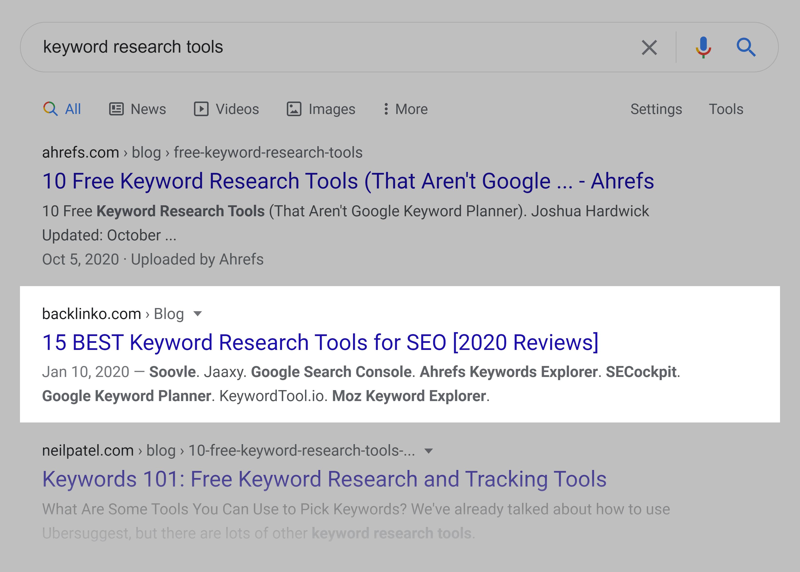 Google SERP – Keyword research tools