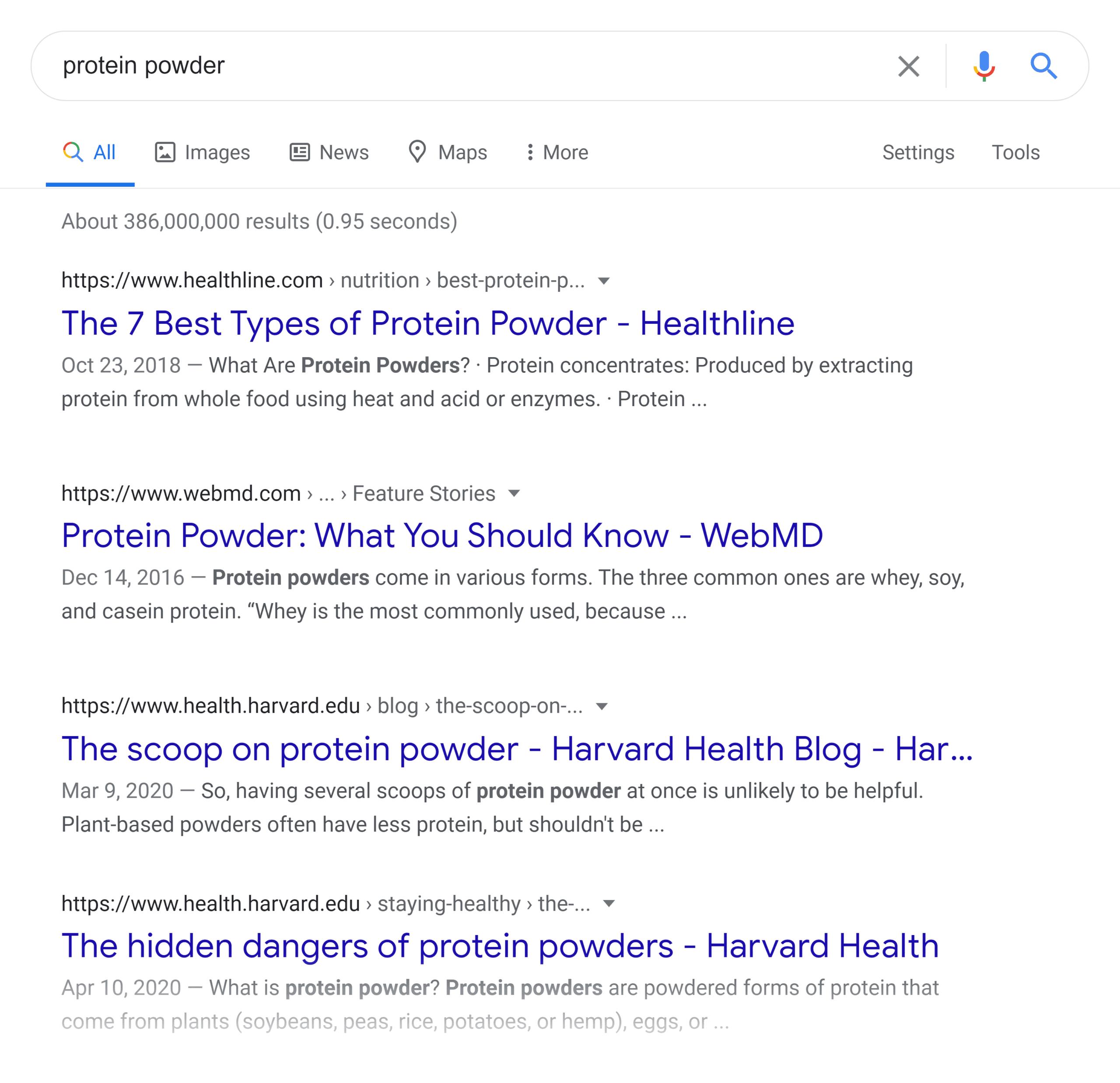 Google SERP – Protein powder