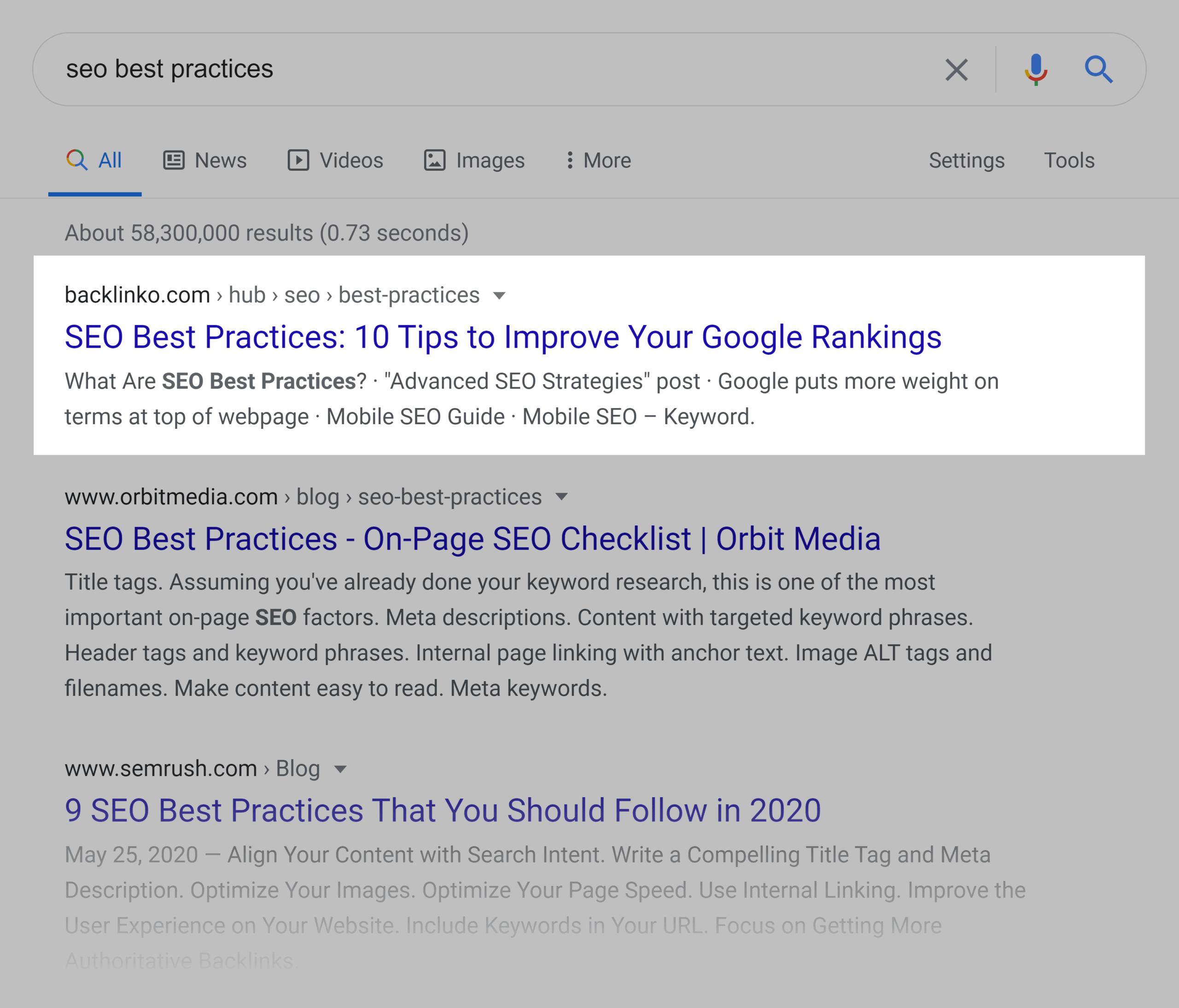 Google SERP – SEO best practices