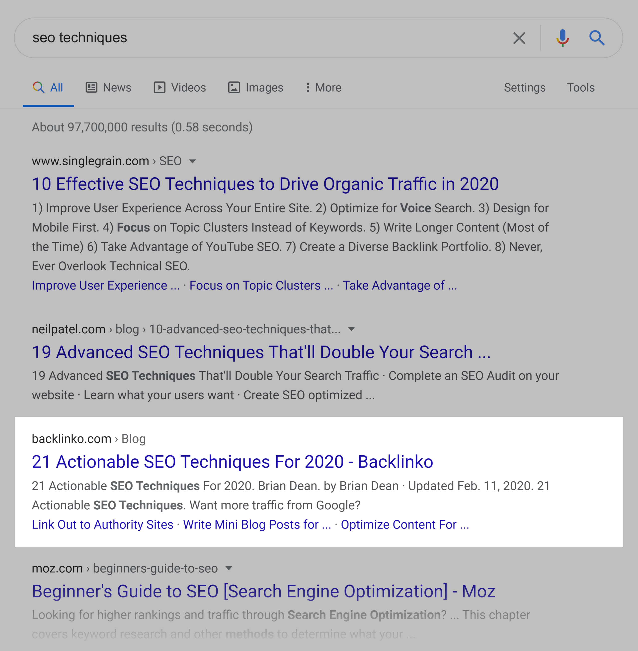 Google SERP – SEO Techniques