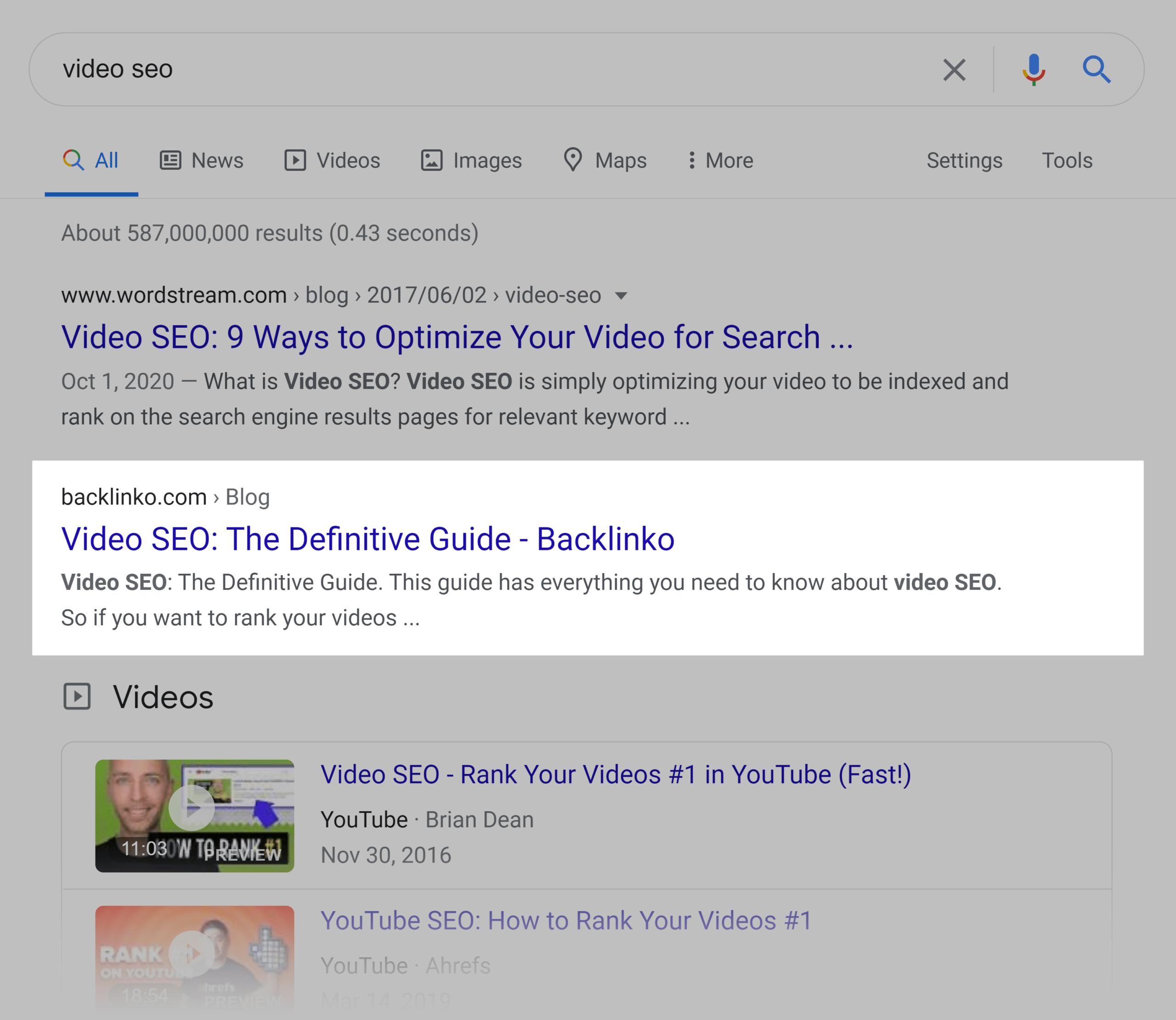 Google SERP – Video SEO