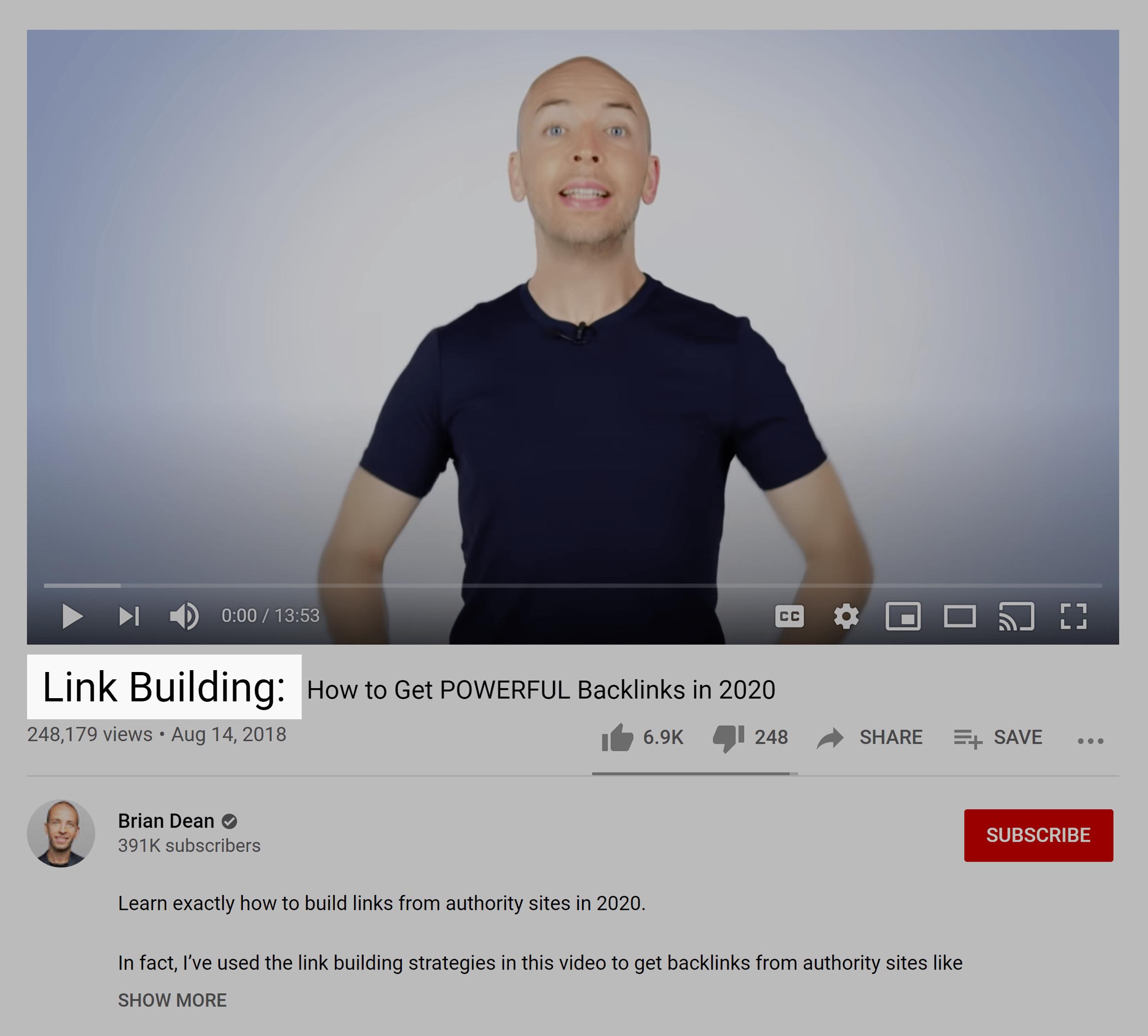"""Link building"" keyword in video title"