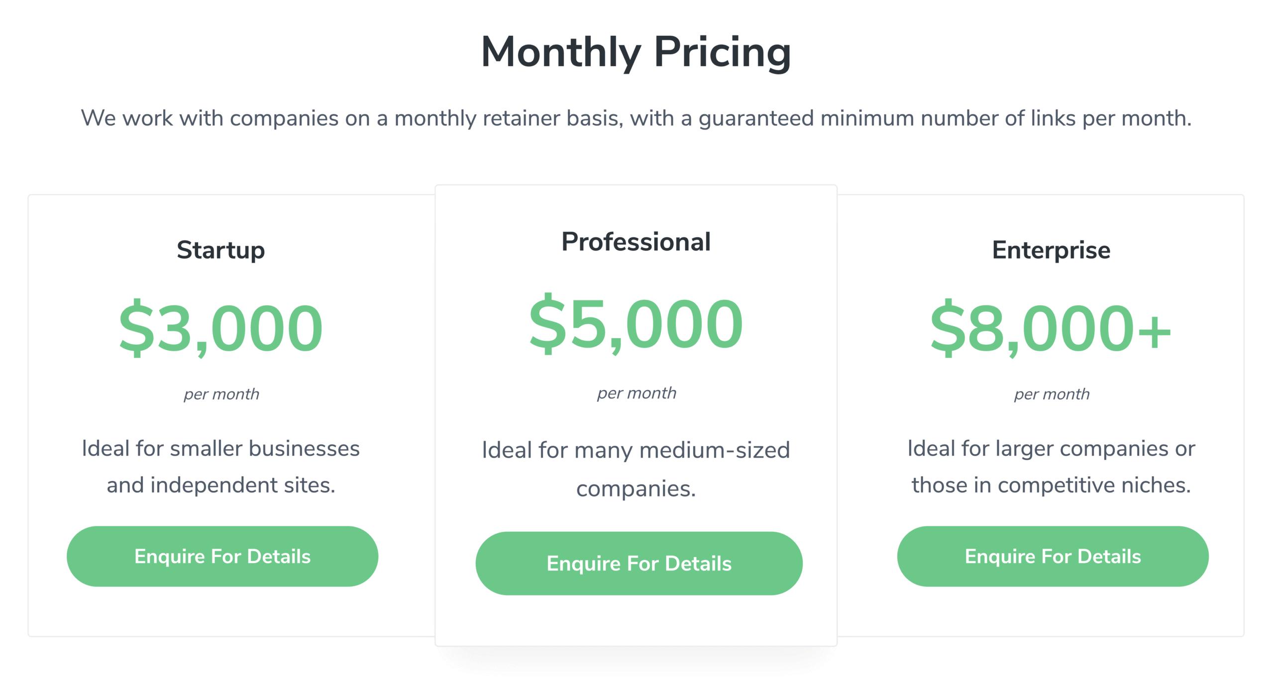 Linkbuilder Monthly Pricing