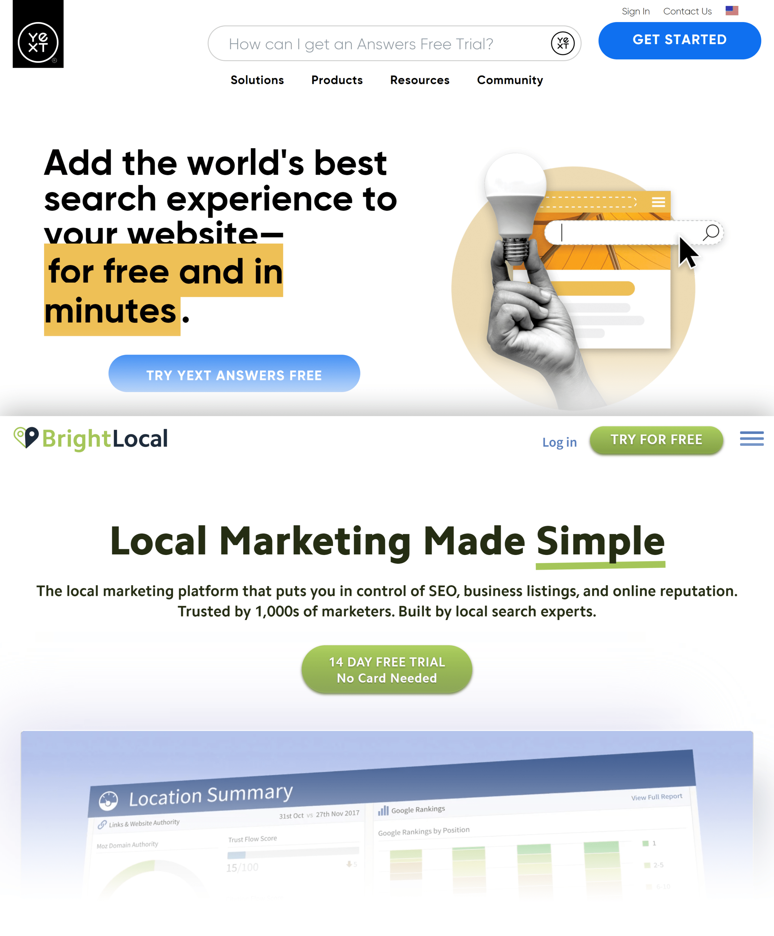 NAP Services – Yext and BrightLocal