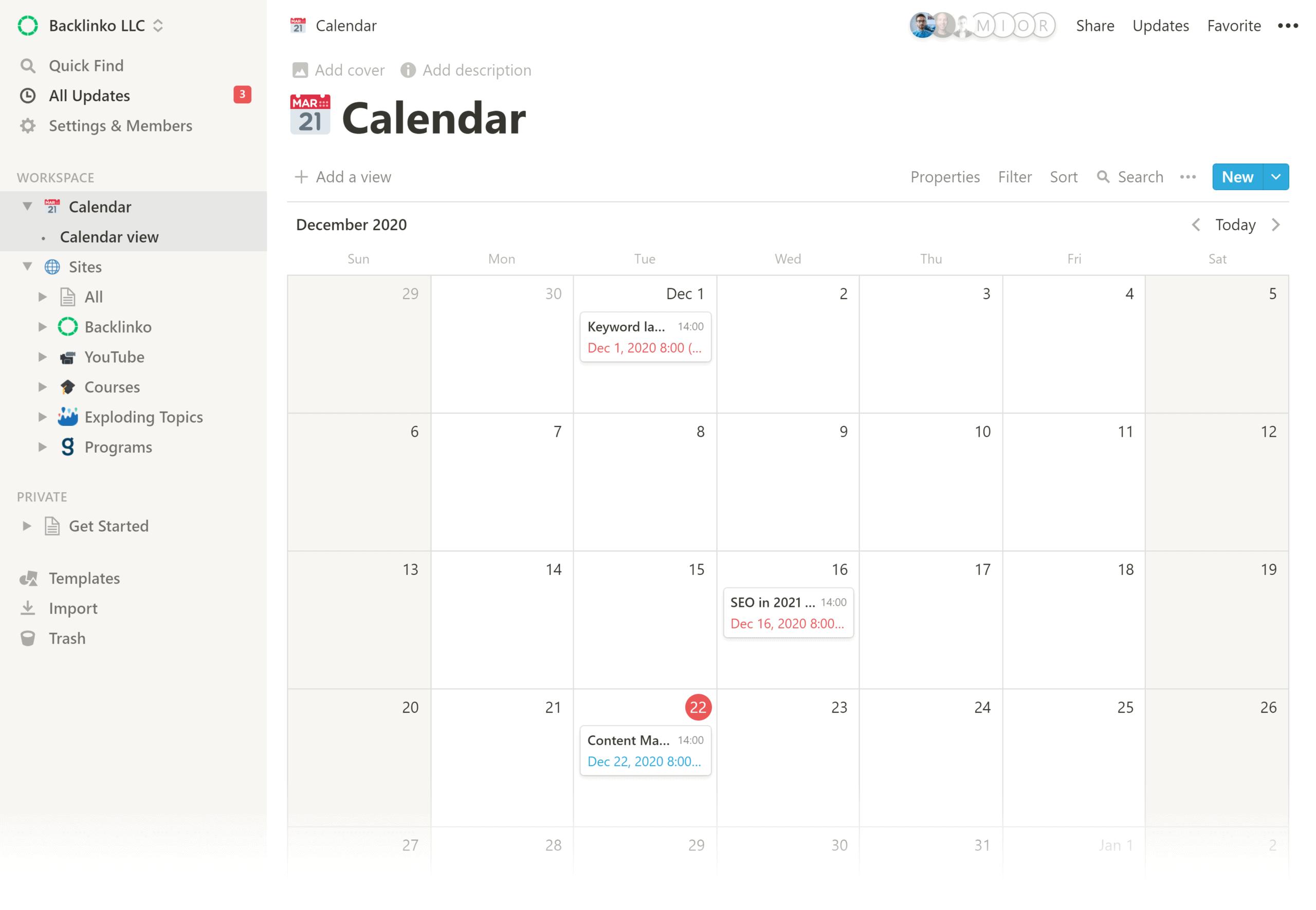 Notion – Backlinko calendar