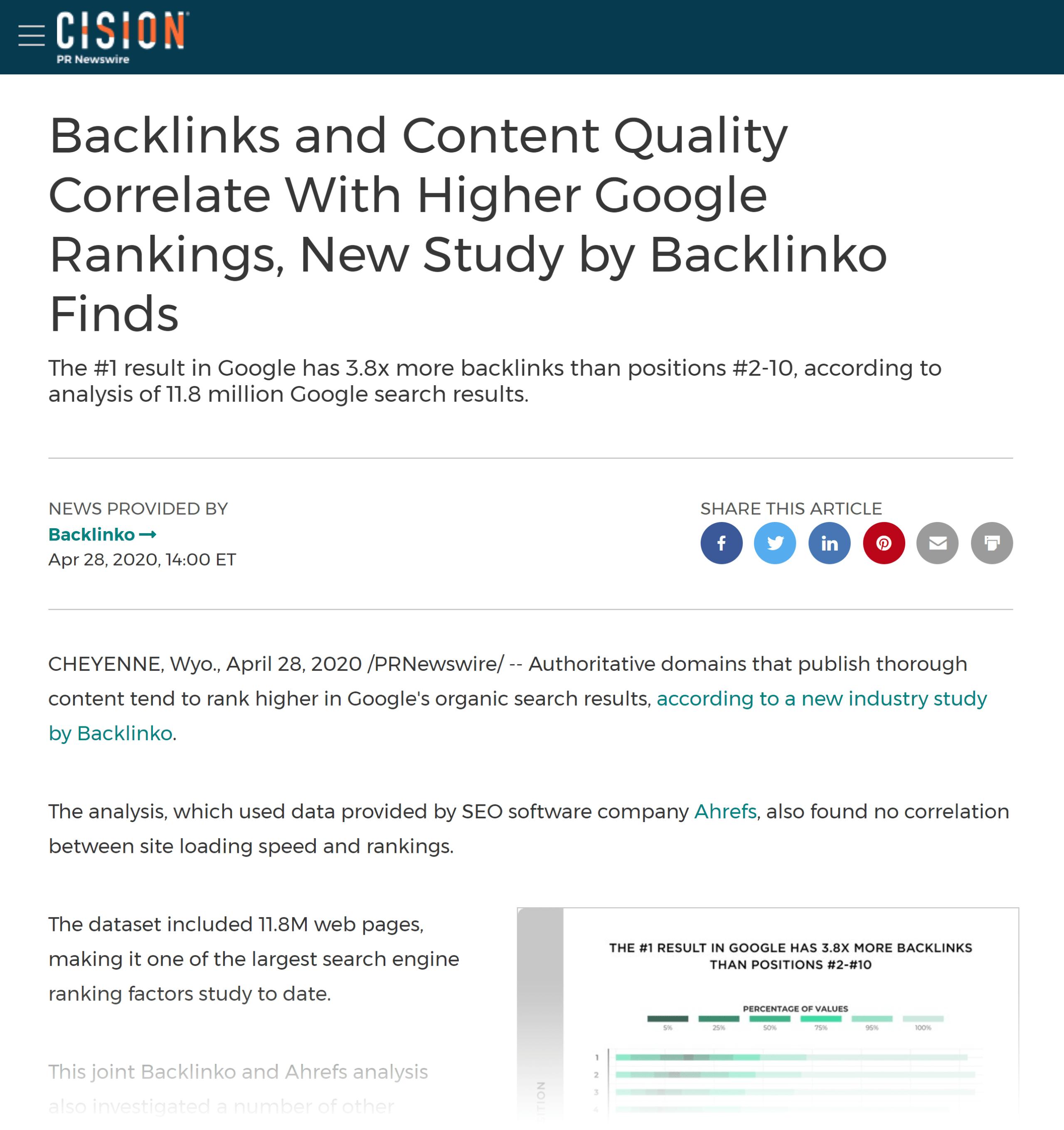 PR Newswire – Backlinko press release