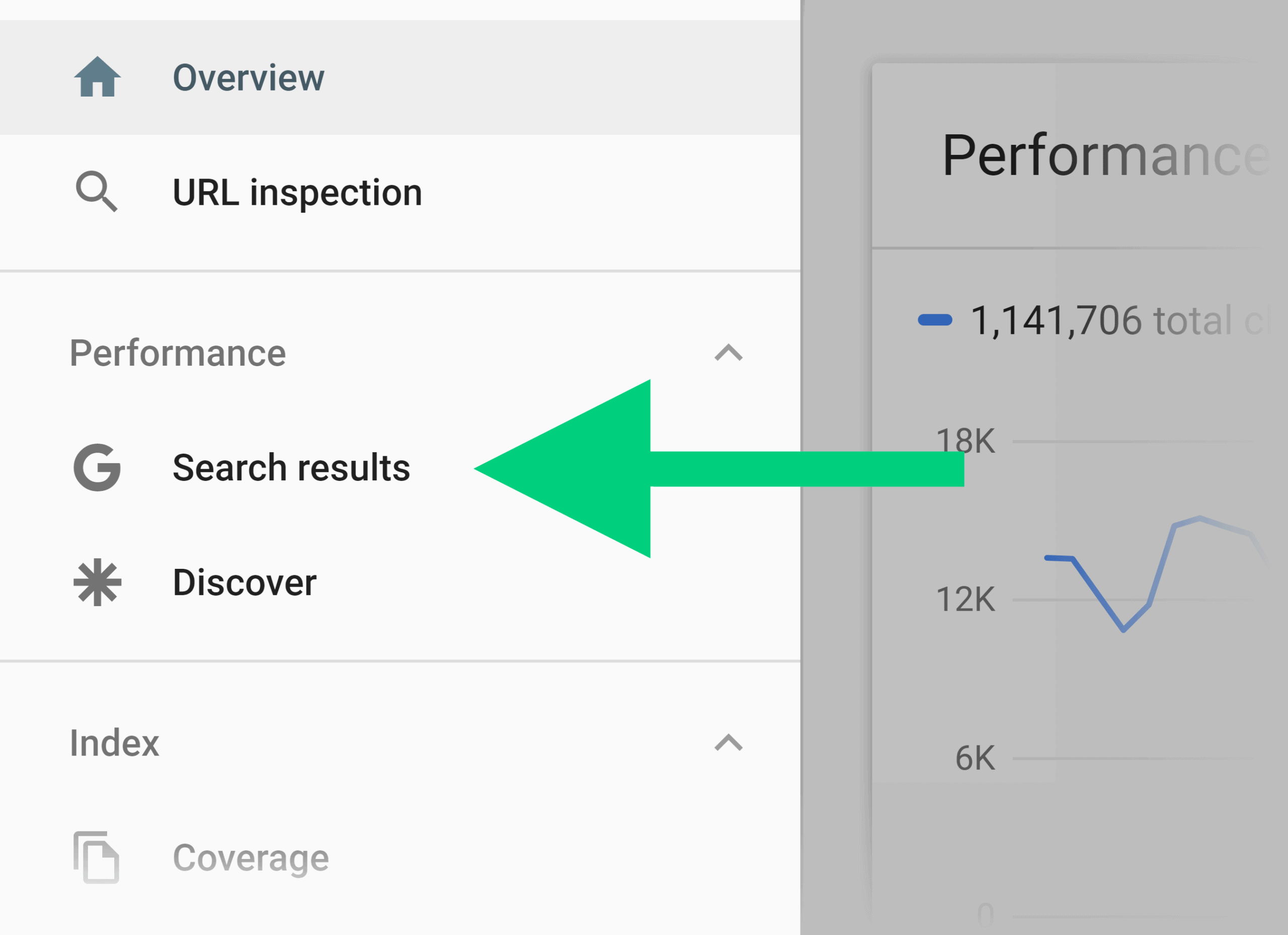 Search Console – Search results menu