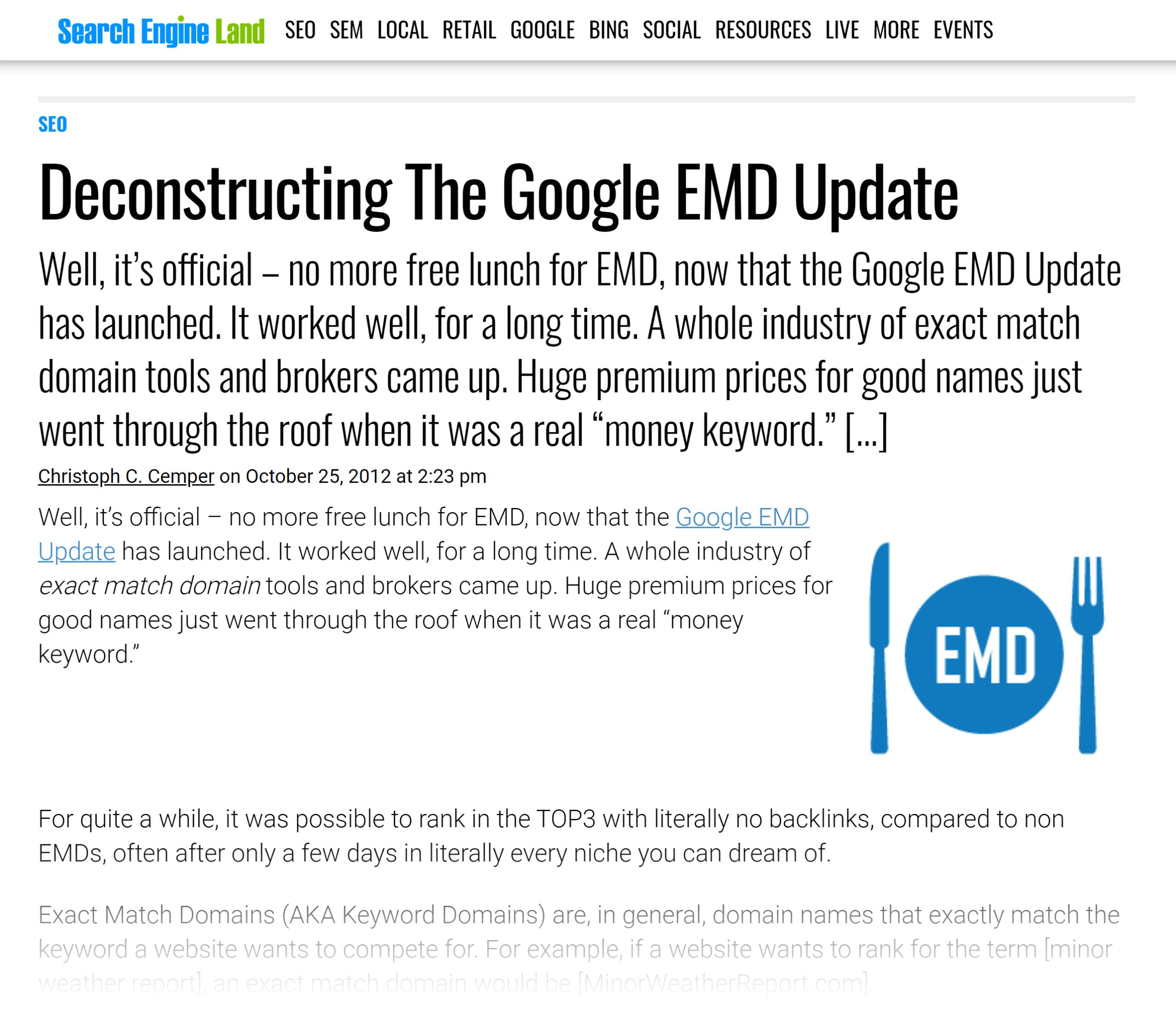 Search Engine Land – Google EMD update