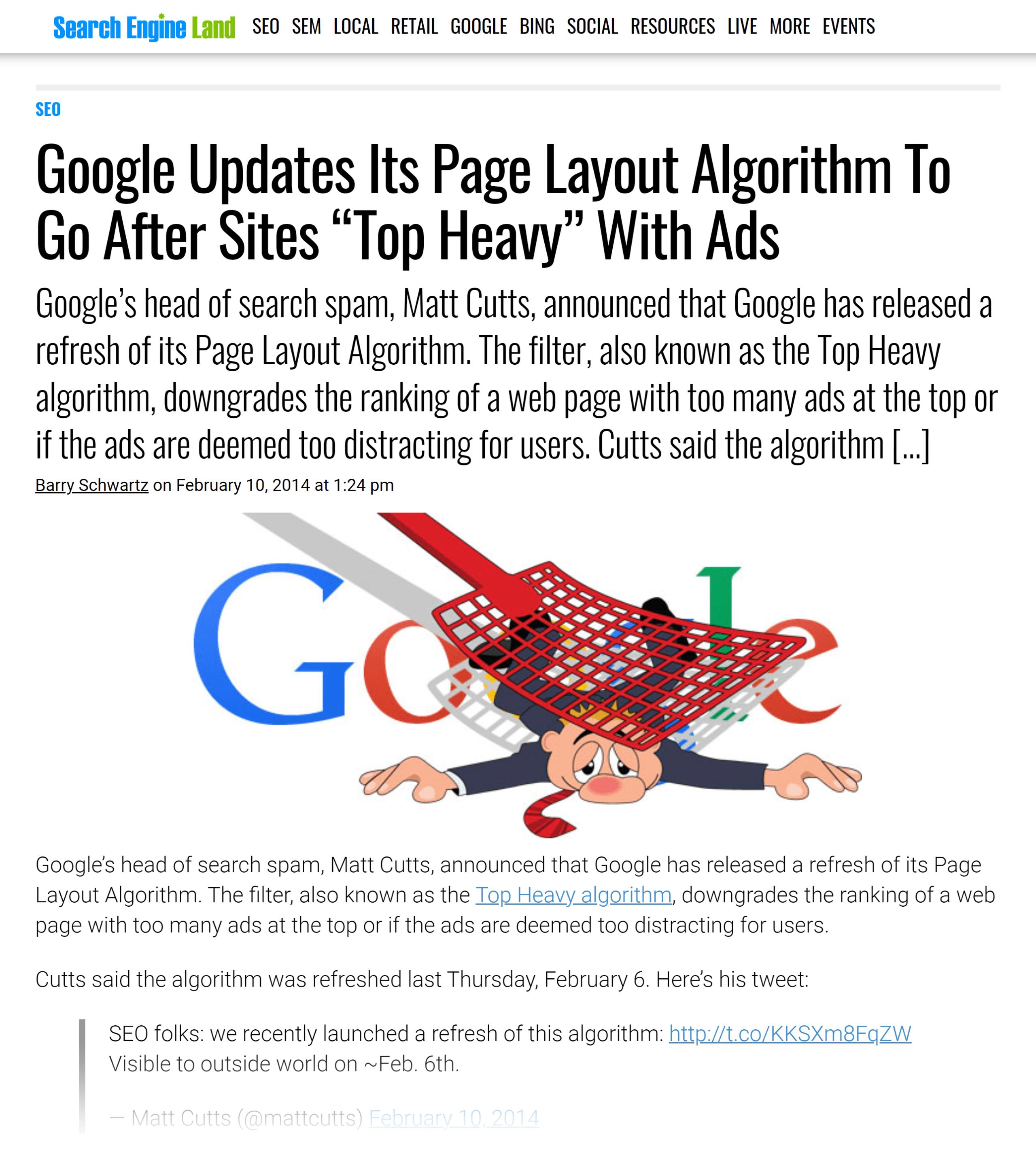 Search Engine Land – Google updates page layout algorithm