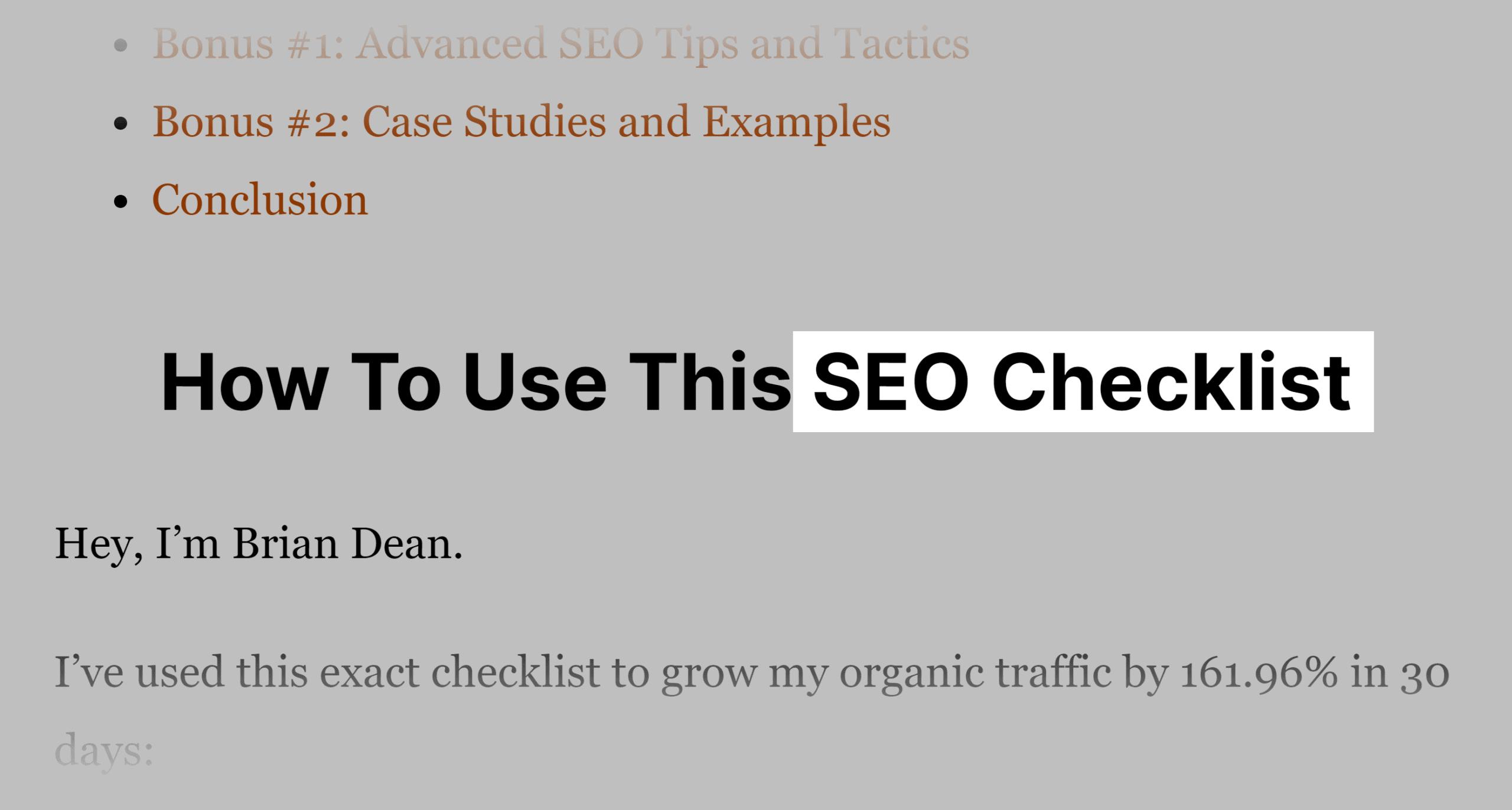 SEO checklist – Keyword in H2 tag