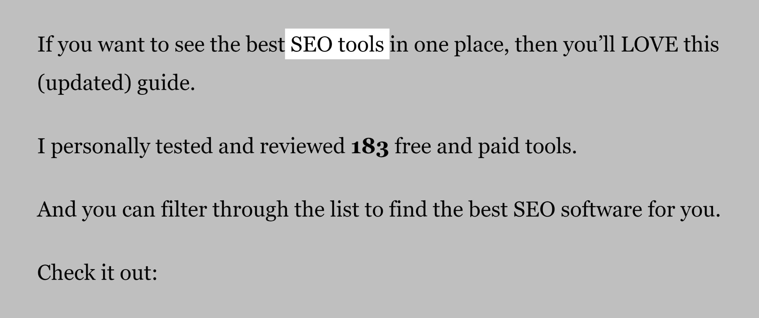 SEO tools post – Keyword in intro