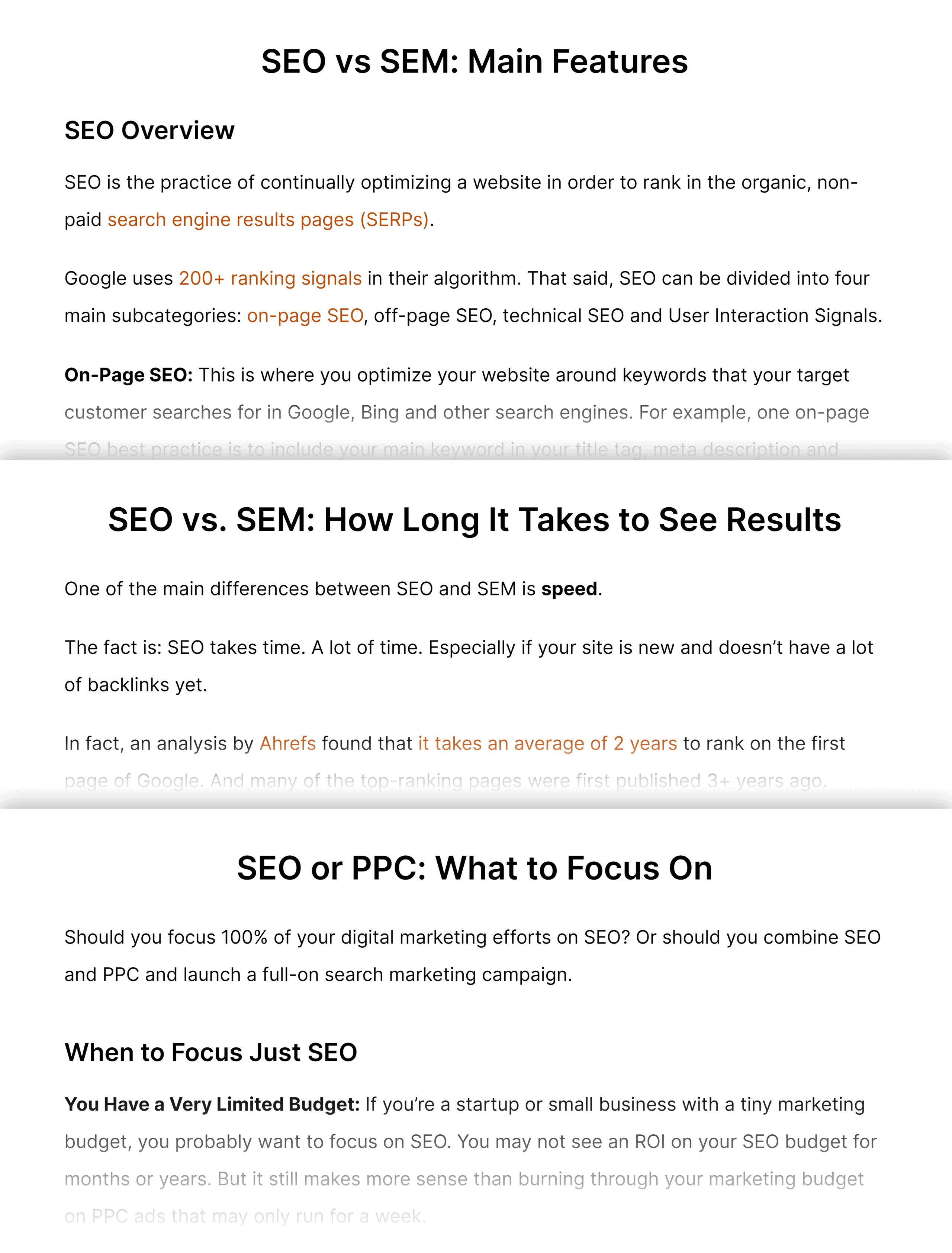 SEO vs. SEM – Sections