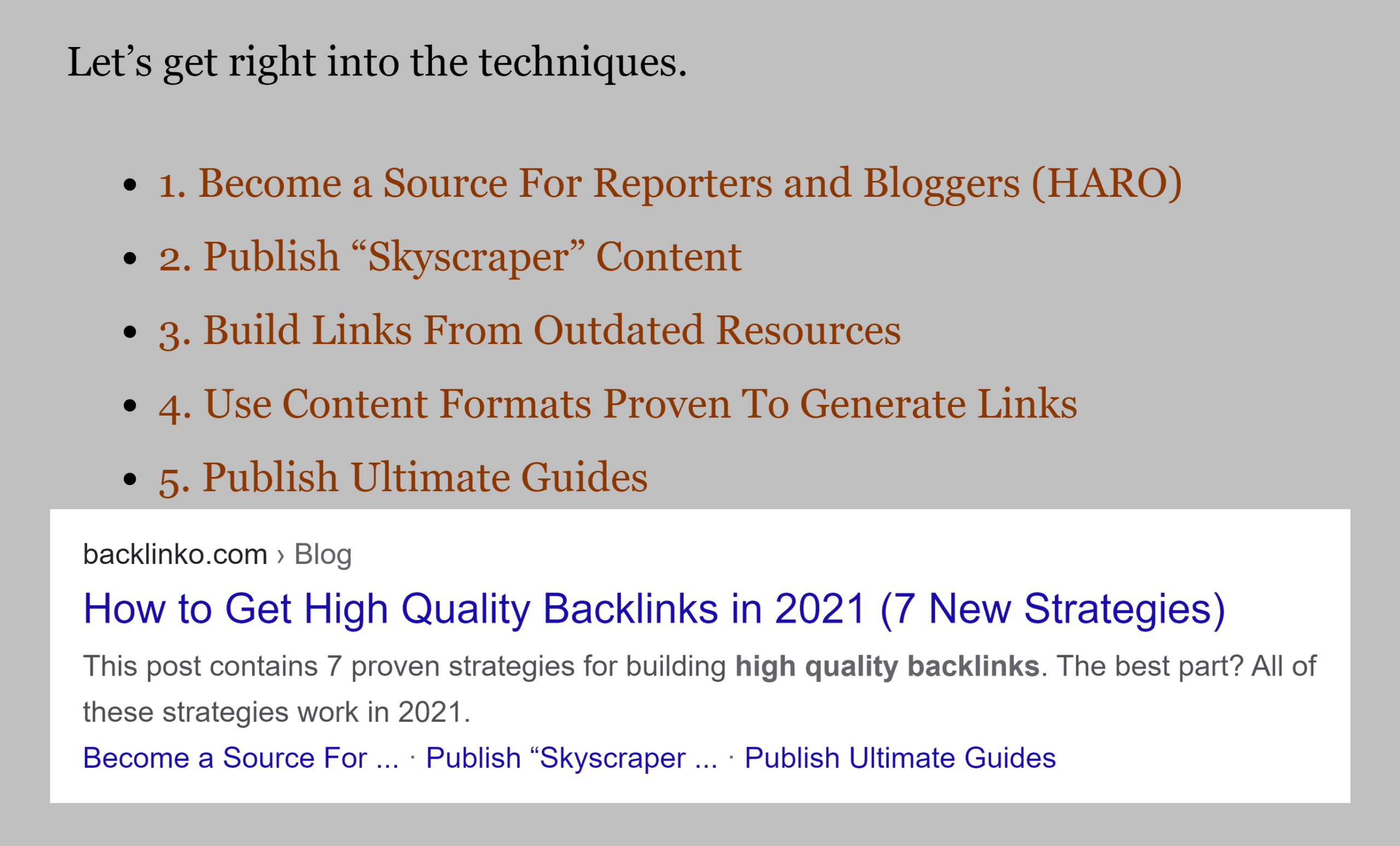 Sitelinks in Google SERP