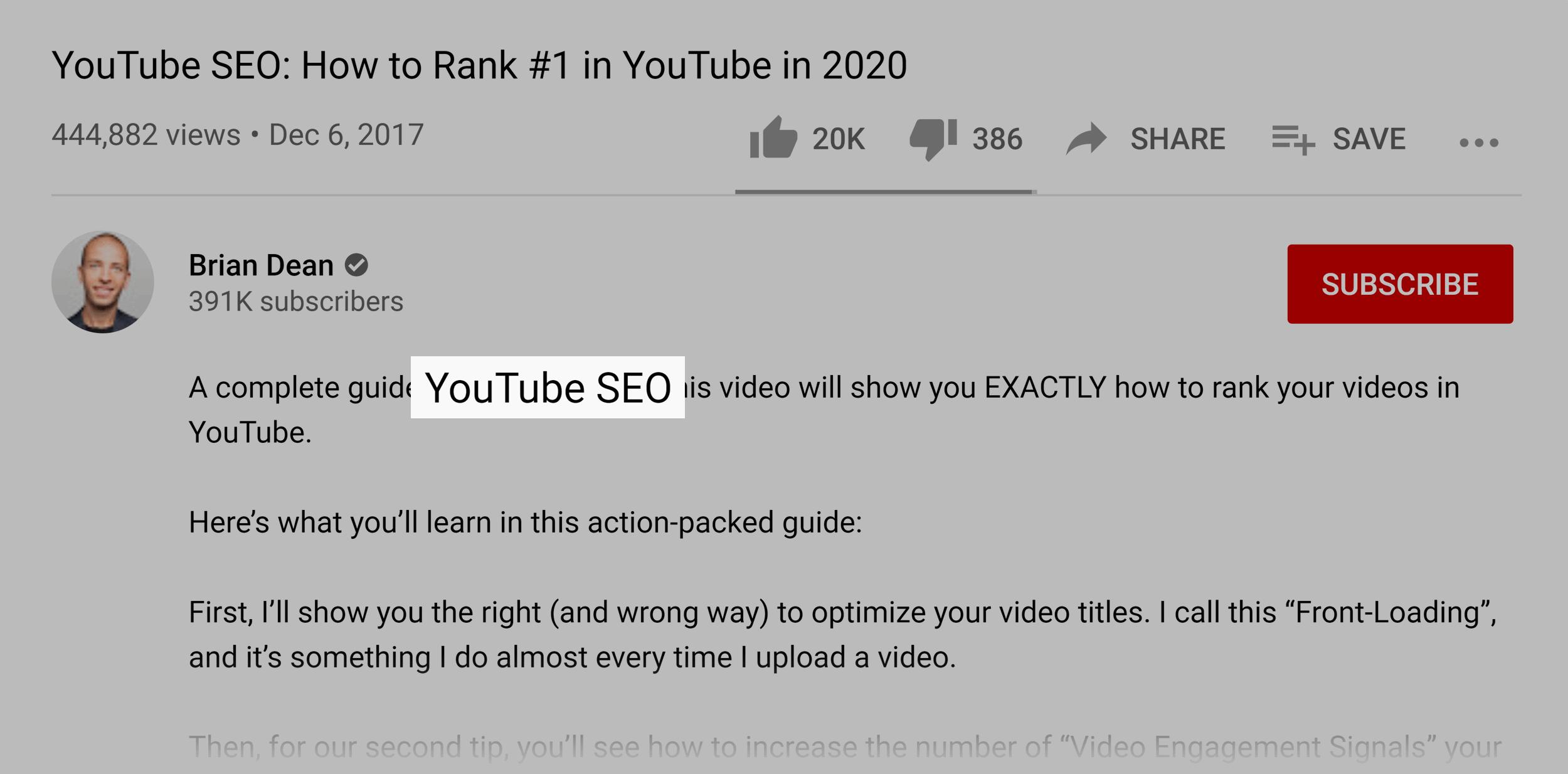 Target keyword in video description