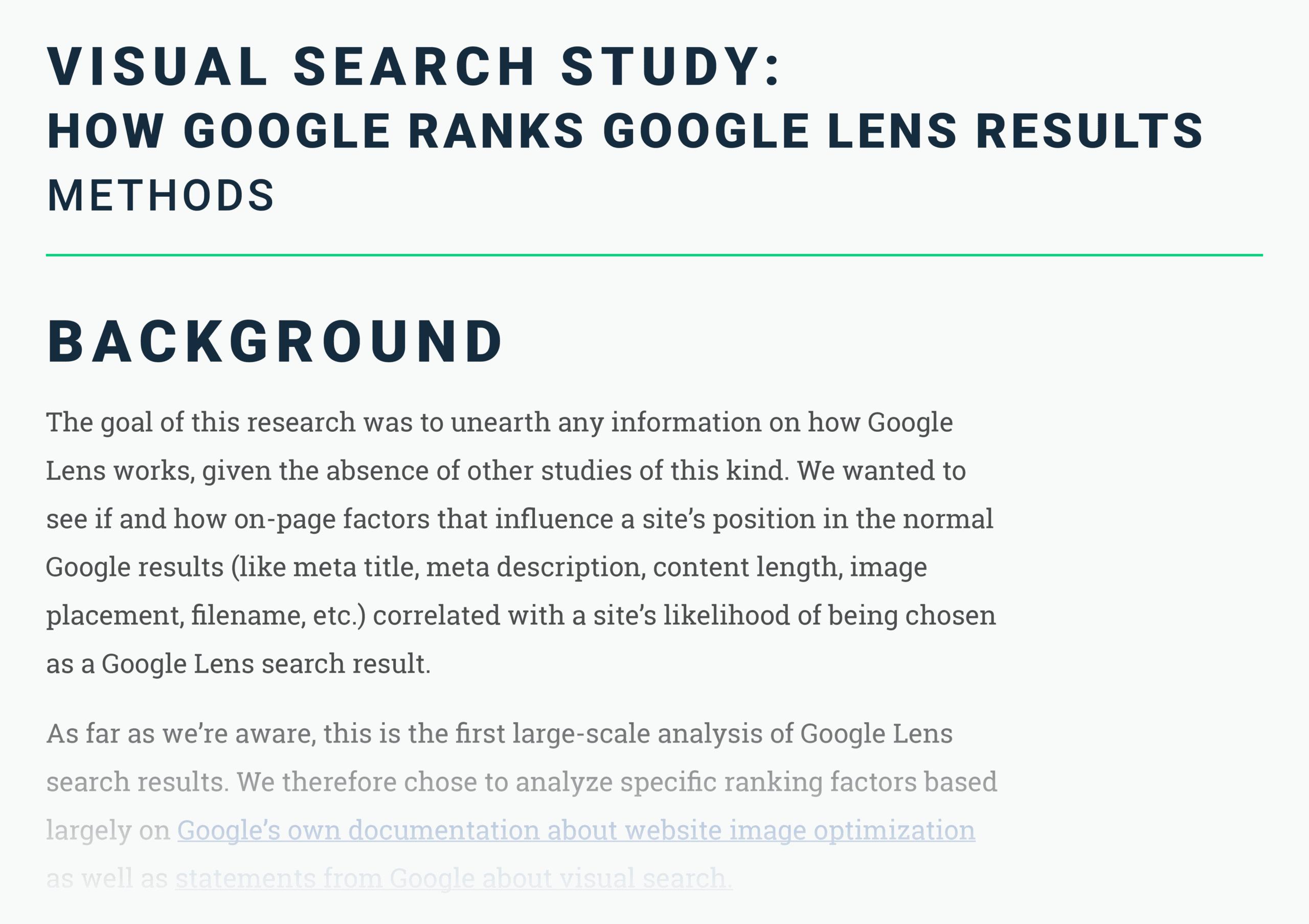 Visual search ranking factors methods