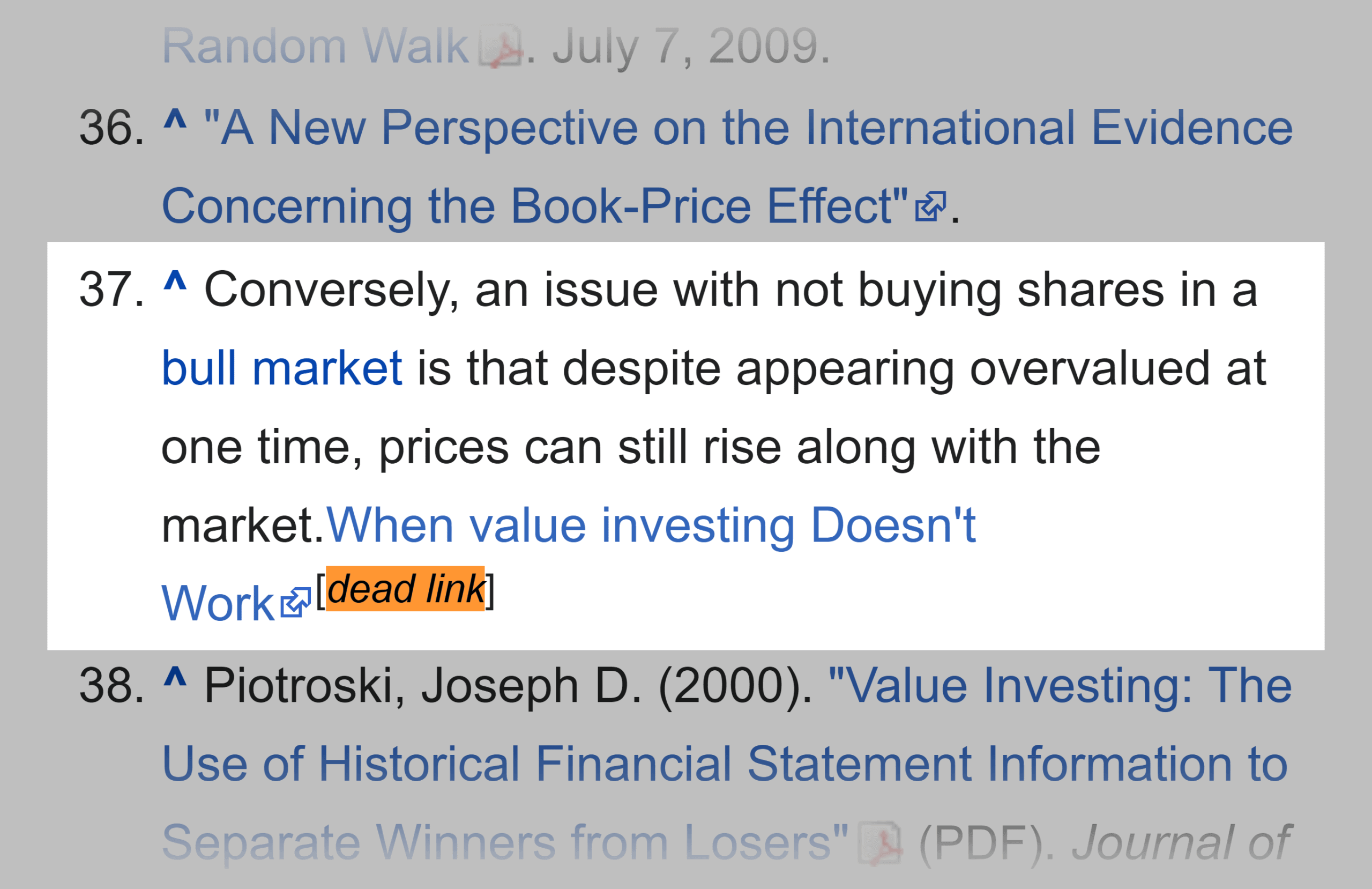 Wikipedia – Value investing – Dead link