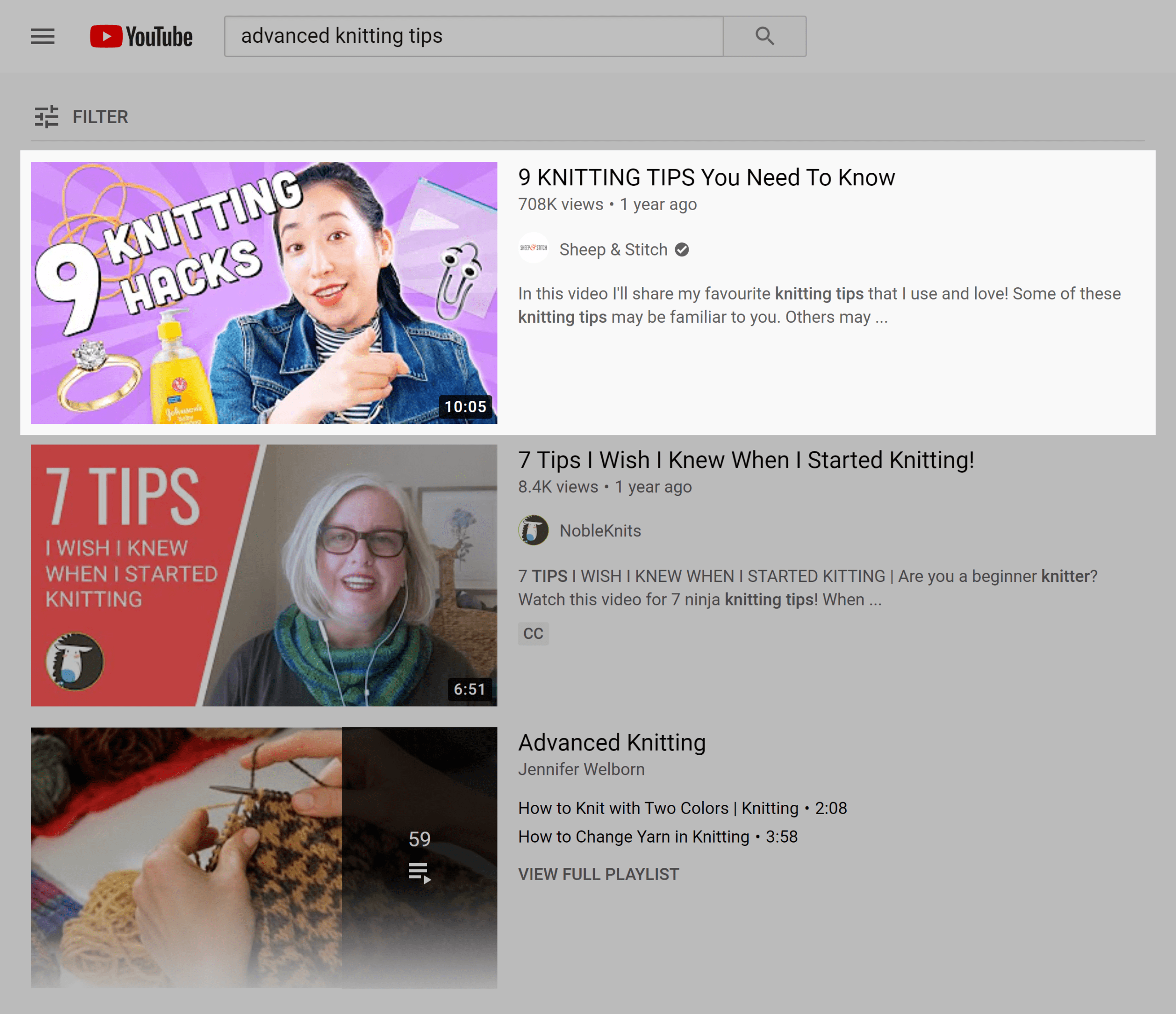 YouTube search results – Advanced knitting tips