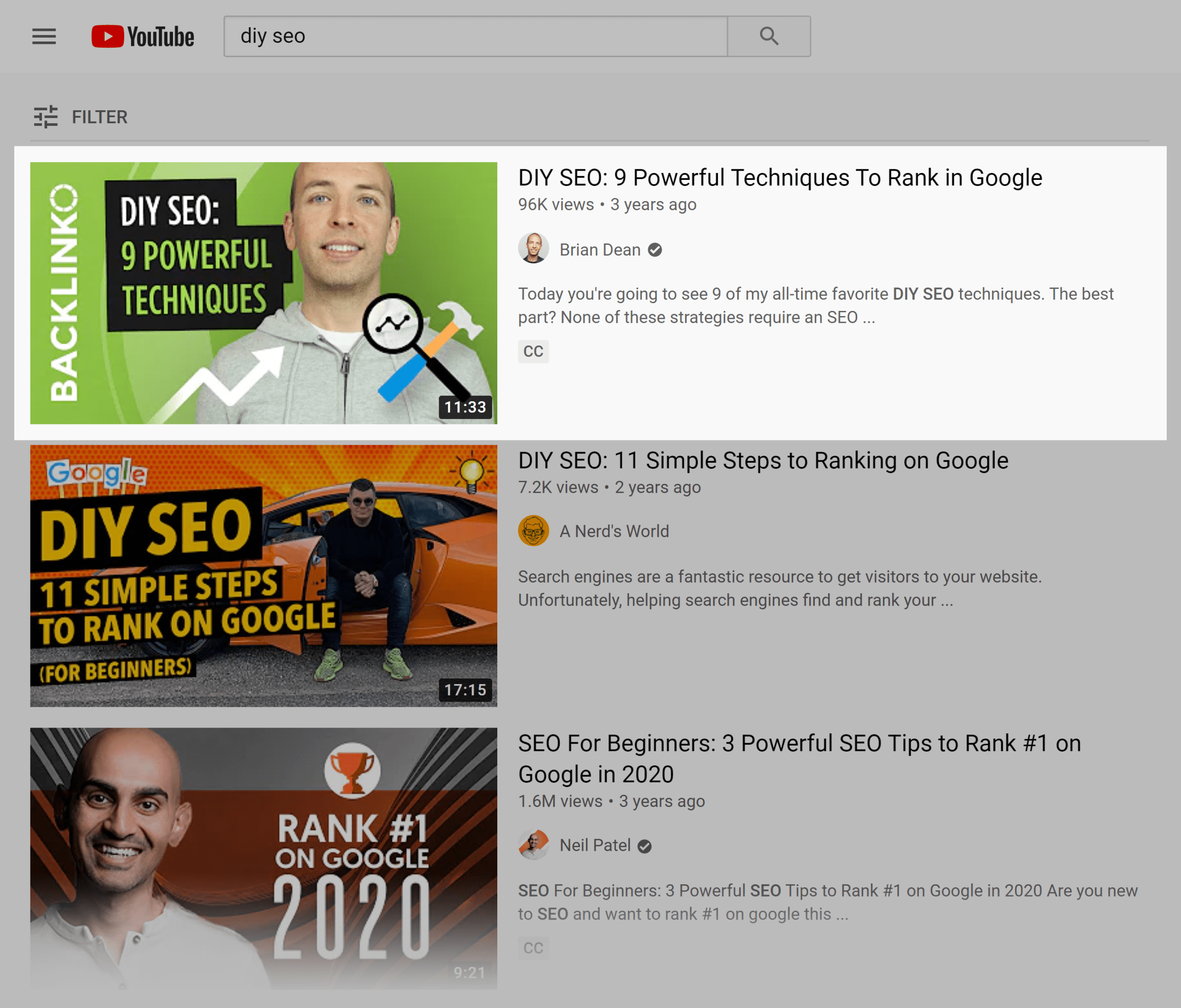 YouTube search results – DIY SEO