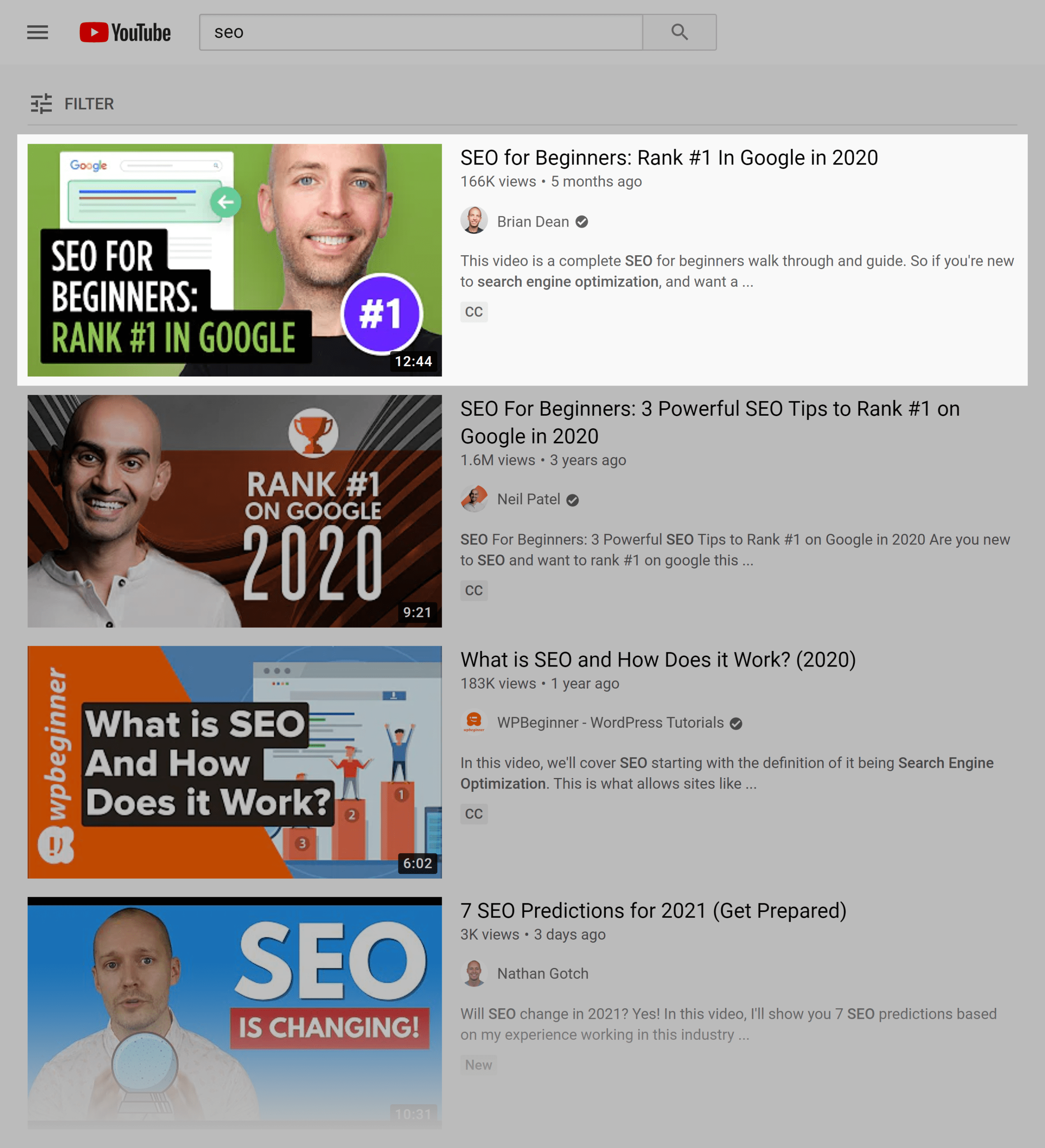 YouTube search results – SEO